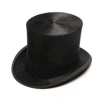 0feea835cd6 19th Century Beaver Fur Felt Top Hat Trimmed in Grosgrain with Hat Box