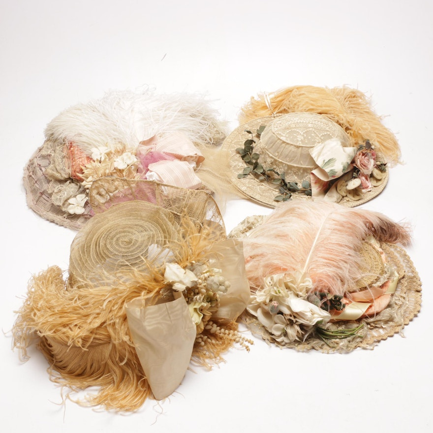 04beecb0786 Victorian Wide Brim Straw Hats with Marabou Feather Accents | EBTH