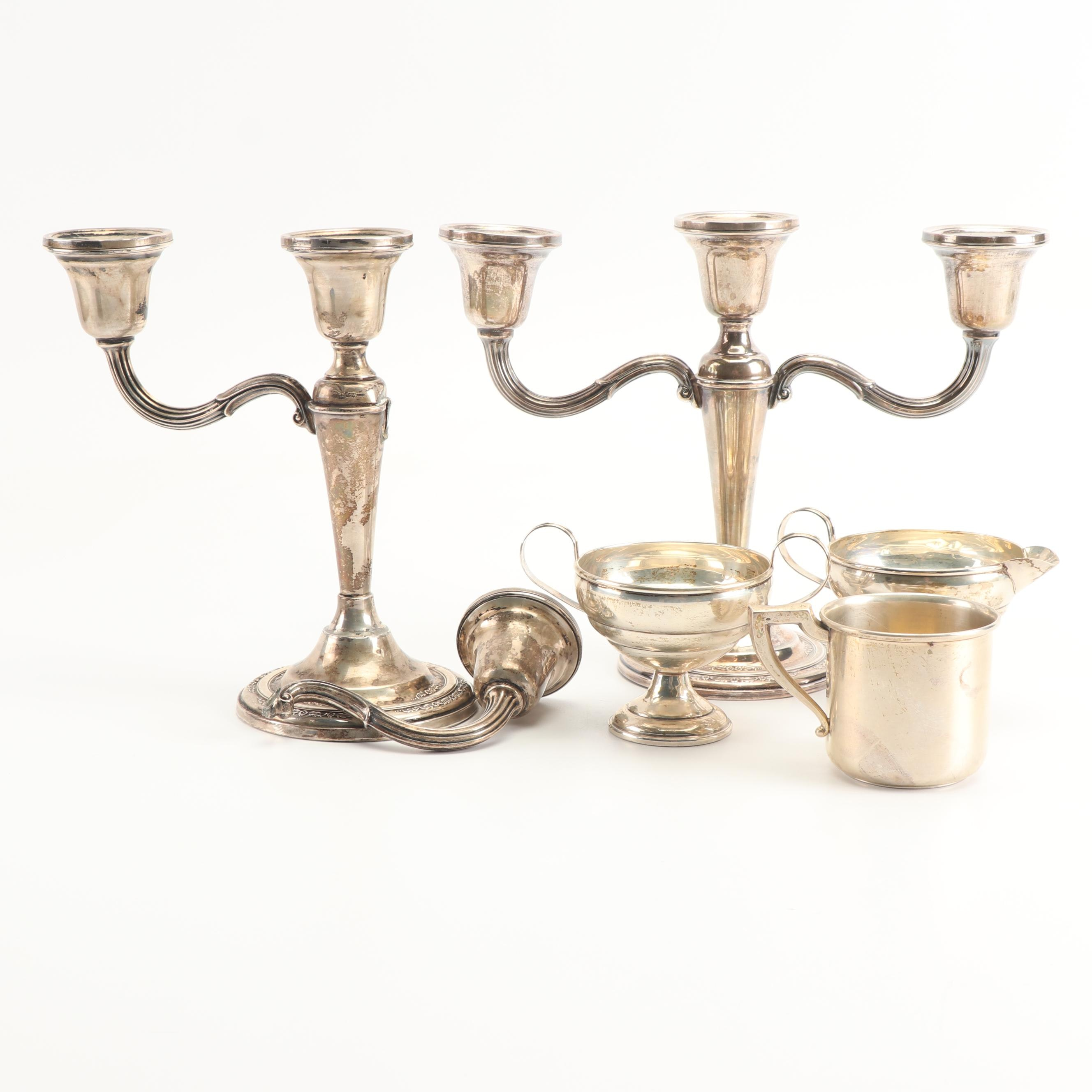 "International Silver Co. ""Courtship"" Candelabra with Sterling Baby Cup and More"