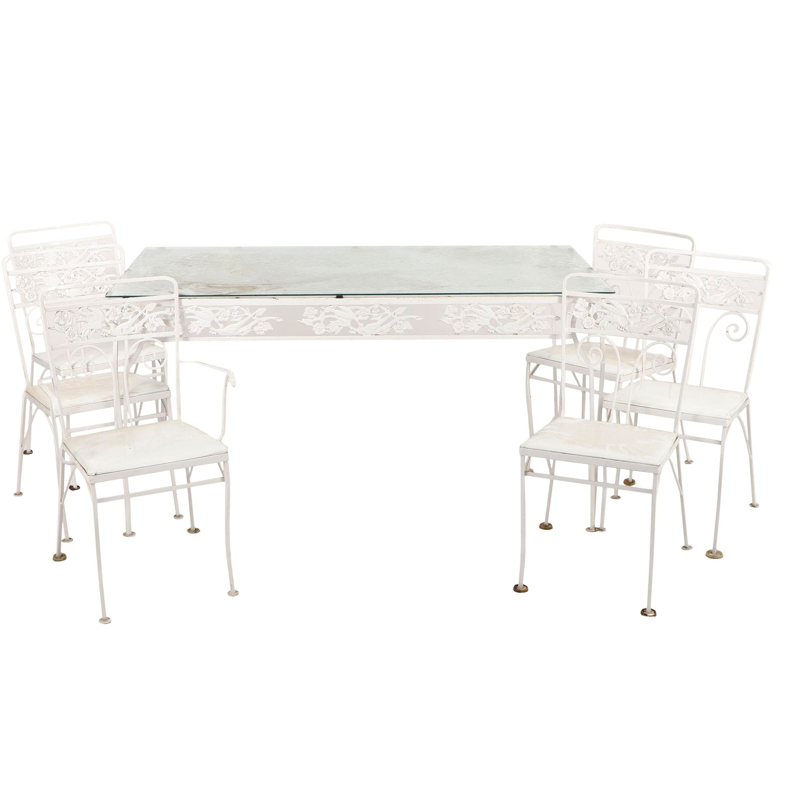 white metal glass top patio table and chairs rh ebth com Patio Table Glass Top Replacement Patio Table Glass Top White