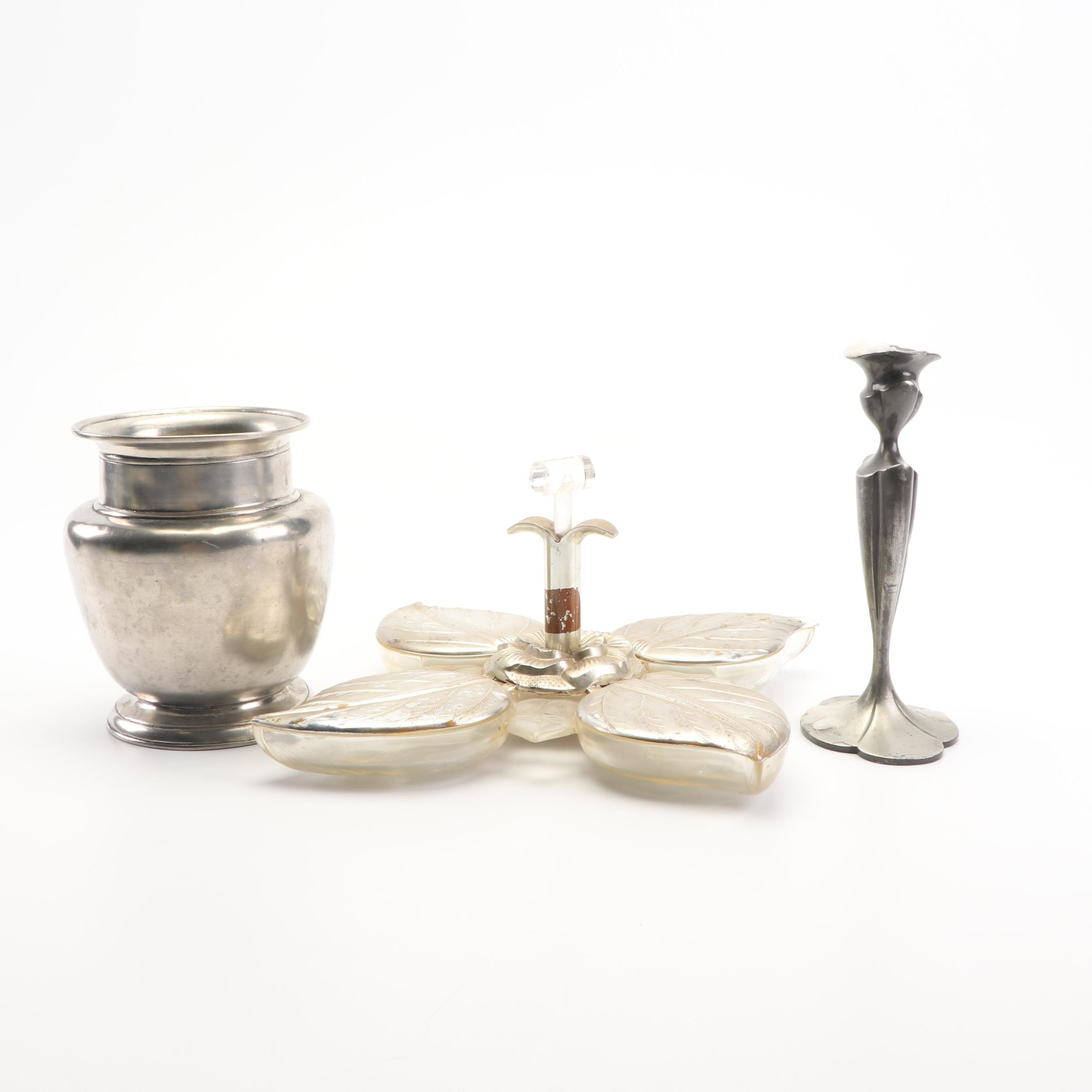Karoff Acrylic and Metal Tray with Silver Plate Candlestick and Vase