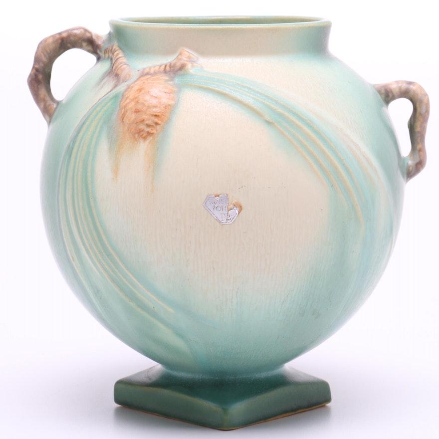 Mid Century Roseville Pottery Pinecone Jardiniere Ebth