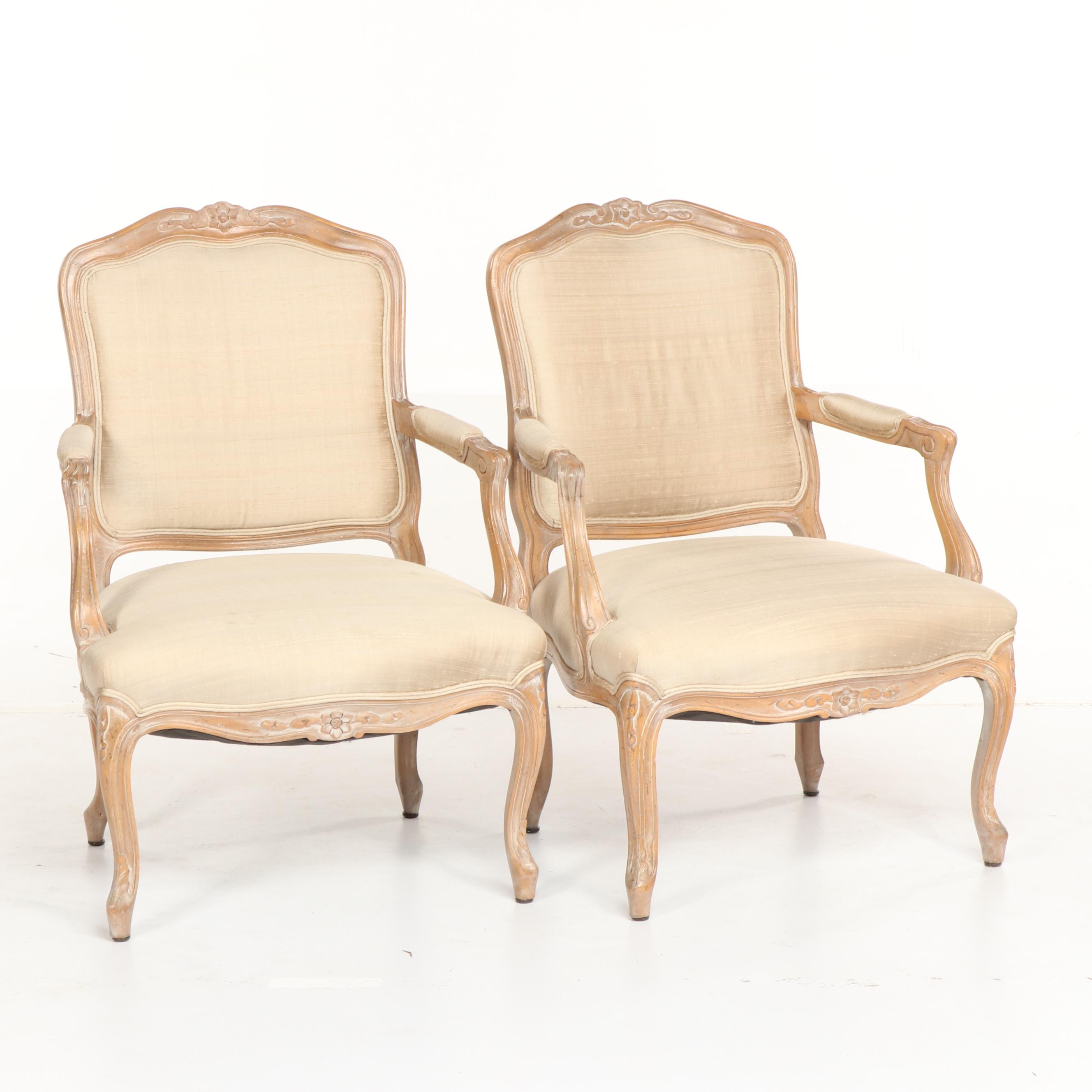 French Provincial Style Silk Upholstered Armchairs, Late 20th Century