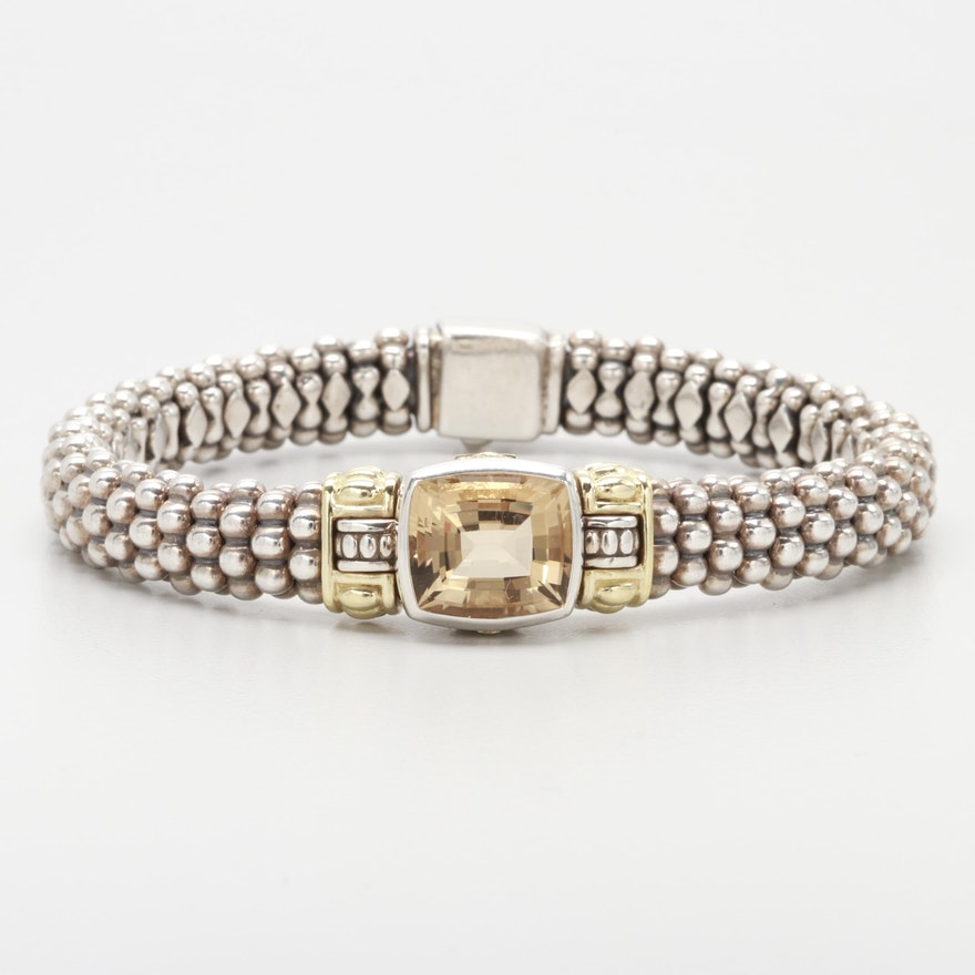 84d758bbc2d Caviar by Lagos Sterling Silver Citrine Bracelet with 18K Yellow Gold  Accents ...