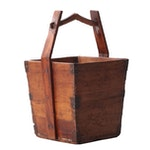 Chinese Iron Mounted Pine Rice Bucket, 19th Century