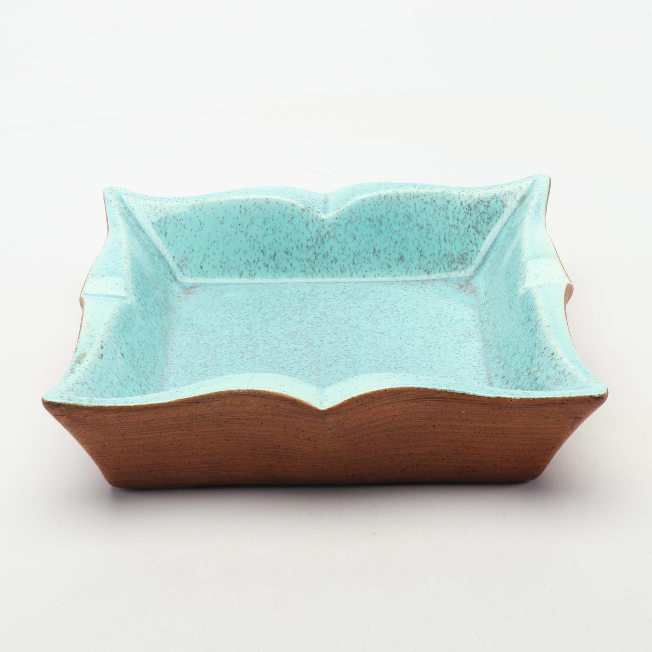Blue Speckled Ceramic Square Bowl, Mid-Century
