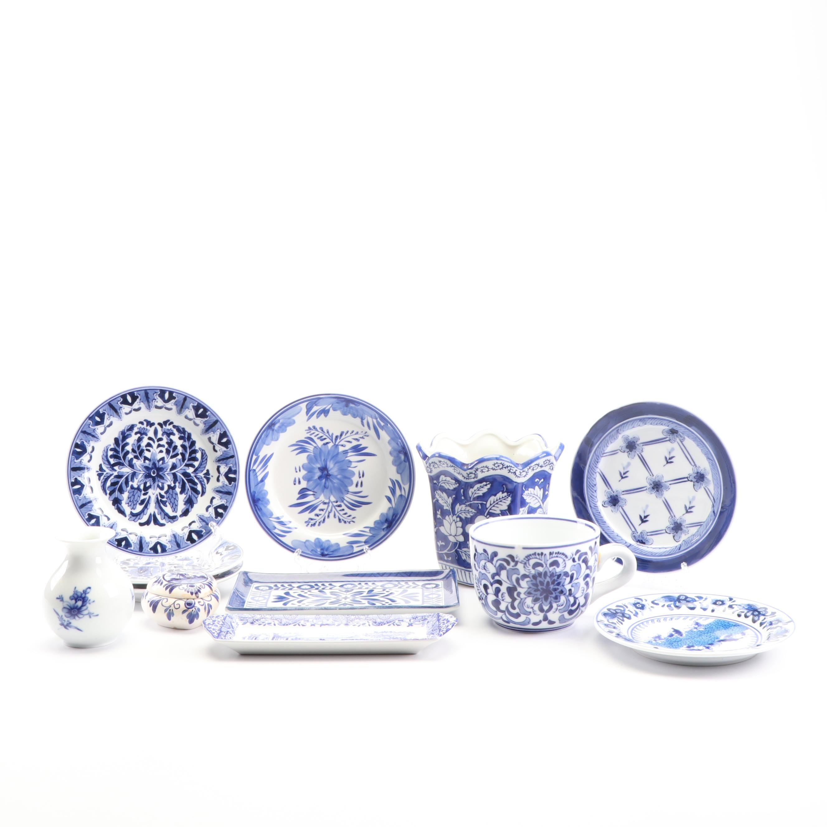 Blue and White Dinnerware with Trinket Box and Planter featuring Delft