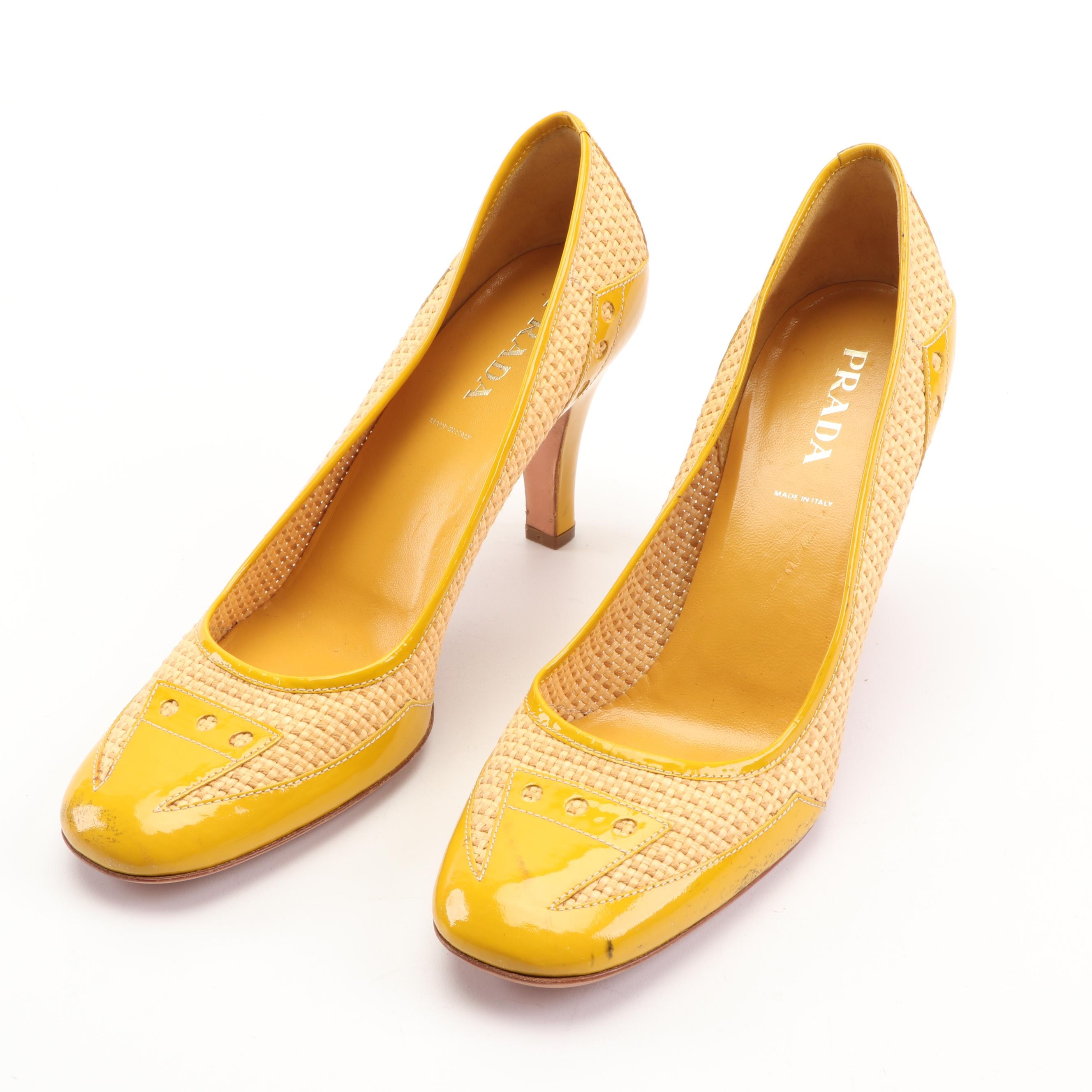 Prada Woven Raffia and Yellow Patent Leather Pumps