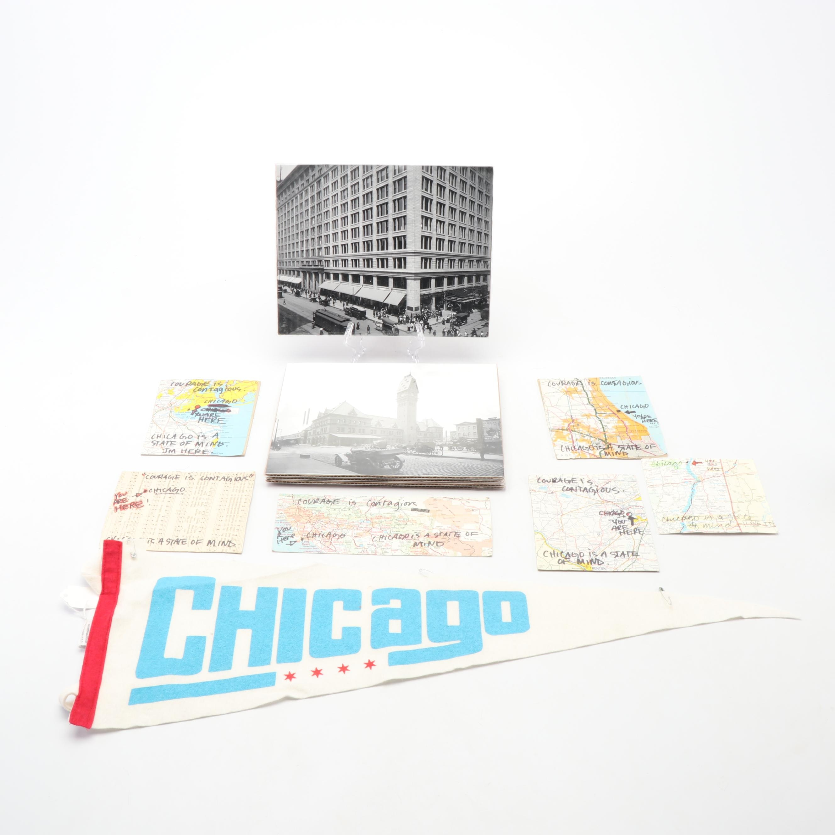 """Chicago Iconic Building Photographs with Pennant and """"State of Mind"""" Postcards"""