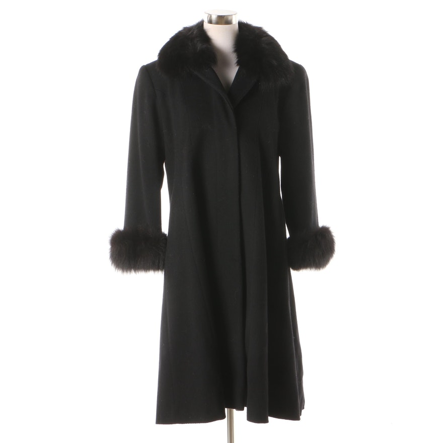 new authentic recognized brands half price Women's J. Percy for Marvin Richards Black Wool Coat with Fox Fur Trim