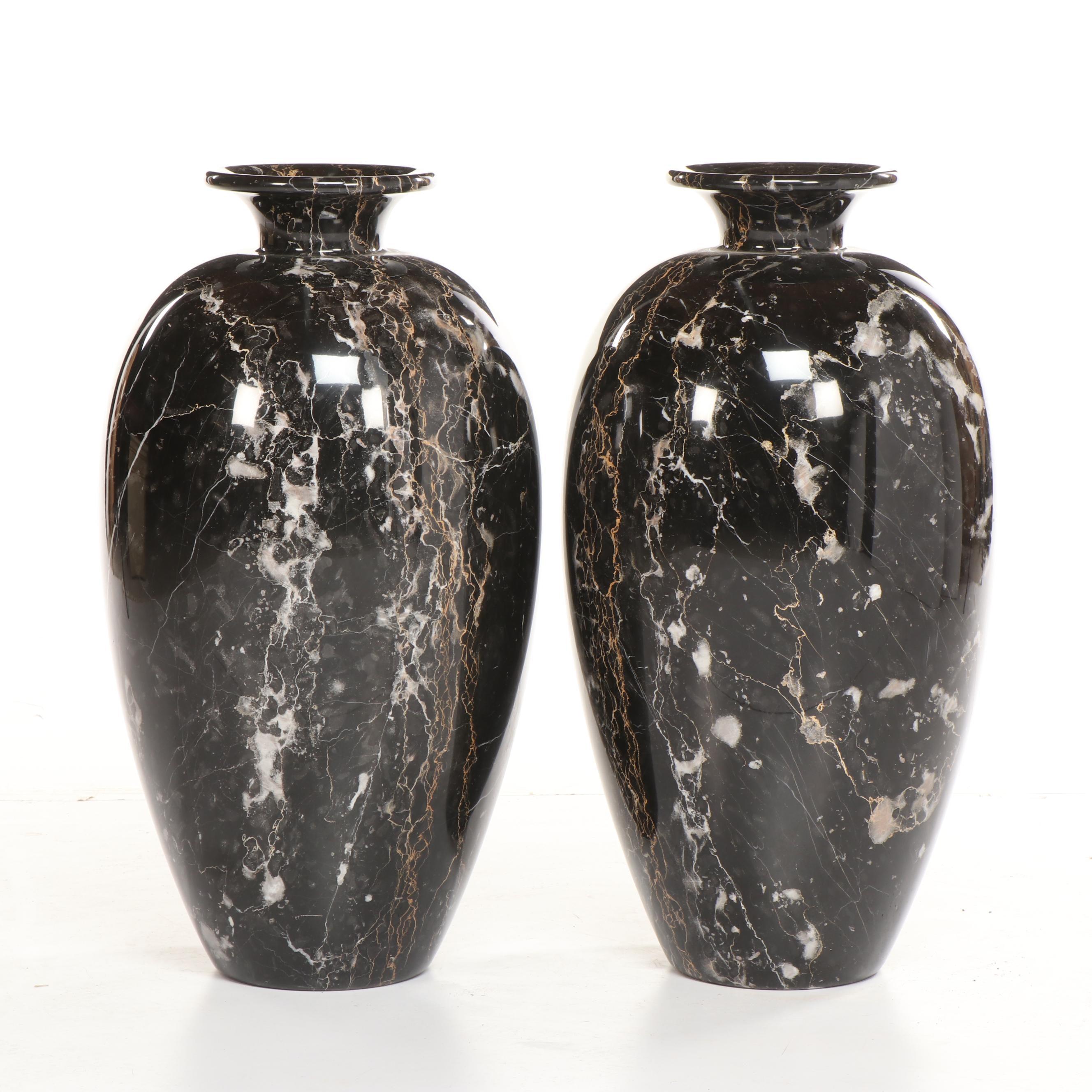 Italian Marble Floor Vases