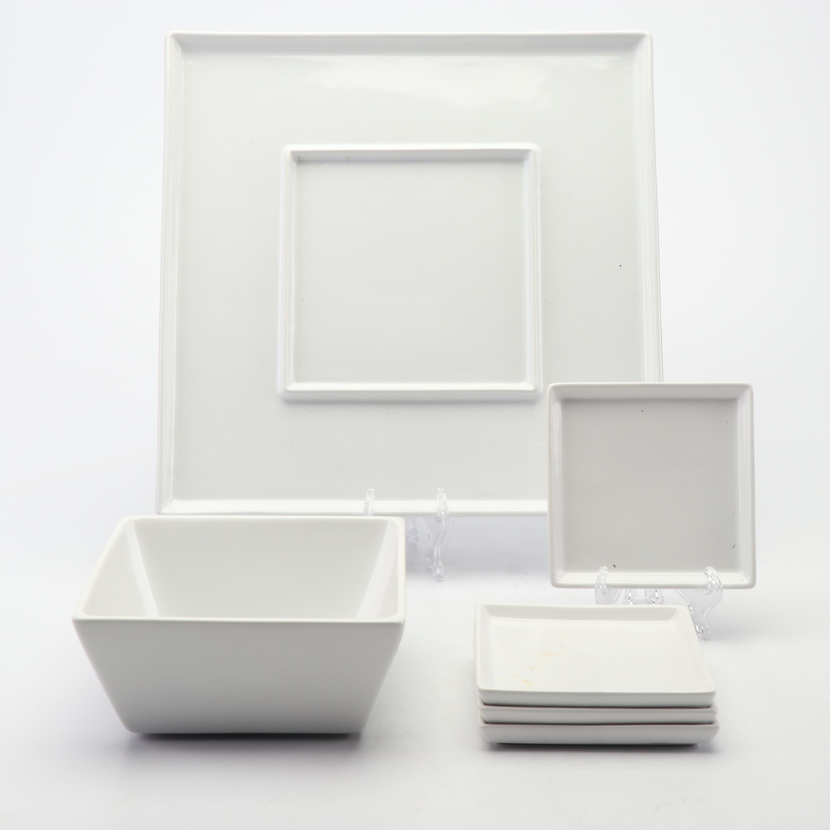 Crate & Barrel White Ceramic Dinnerware