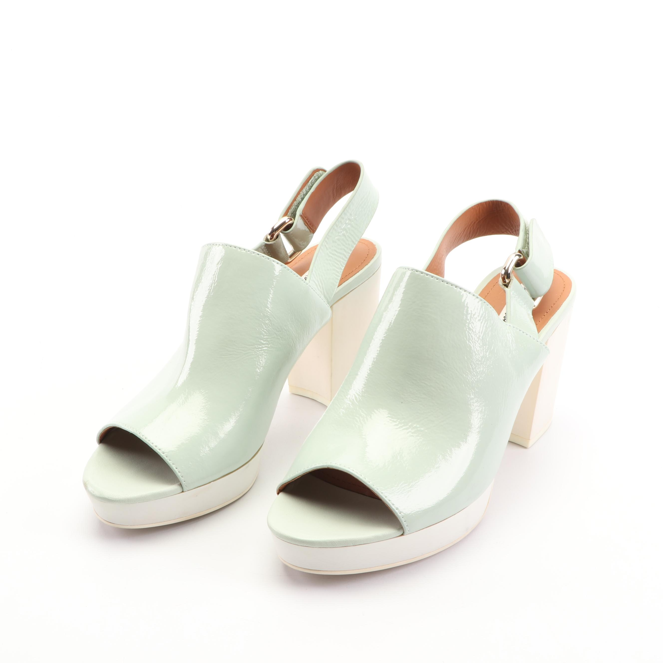 & Other Stories Aqua Patent Leather Platform Sandals