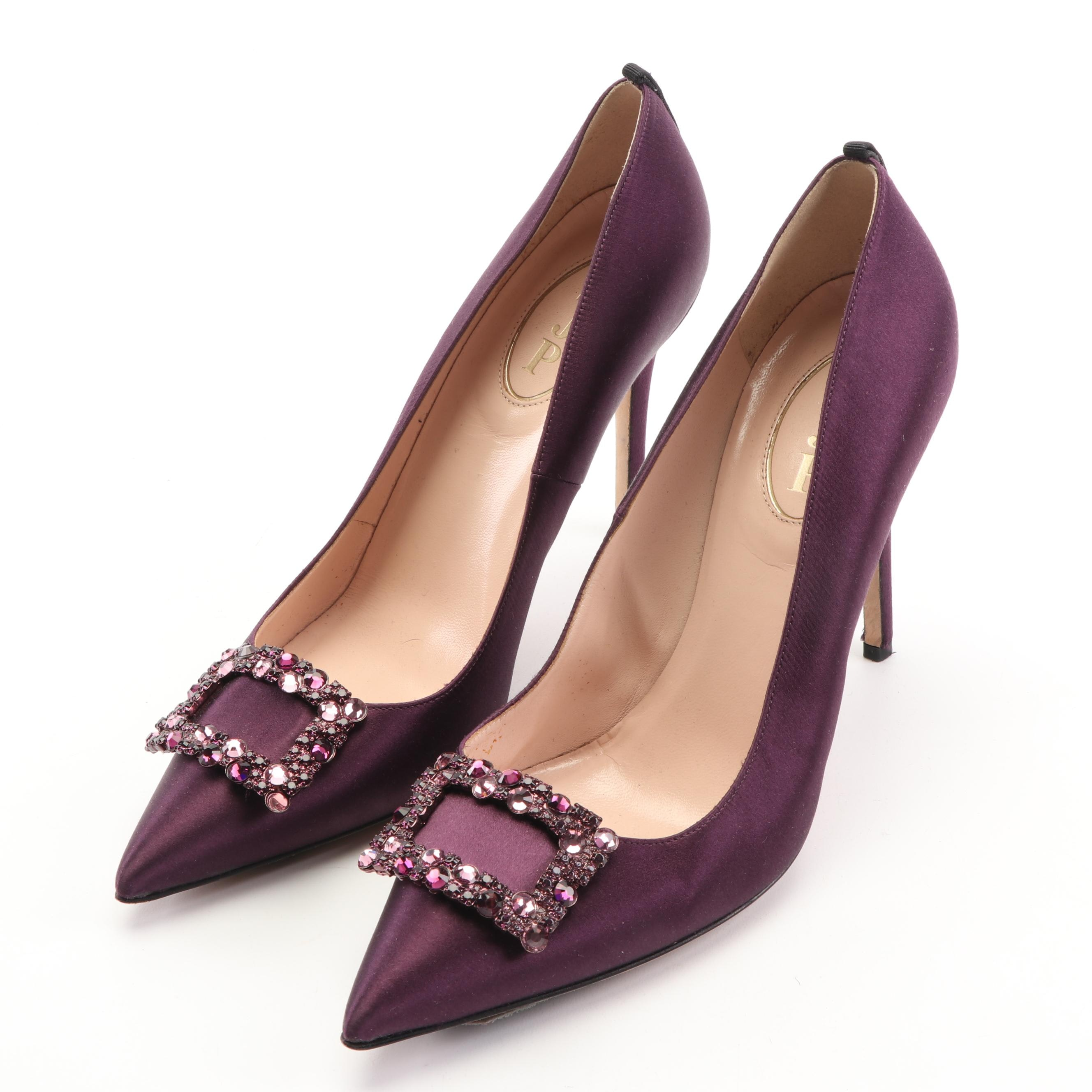 SJP by Sarah Jessica Parker Aubergine Satin Pumps with Embellished Buckles