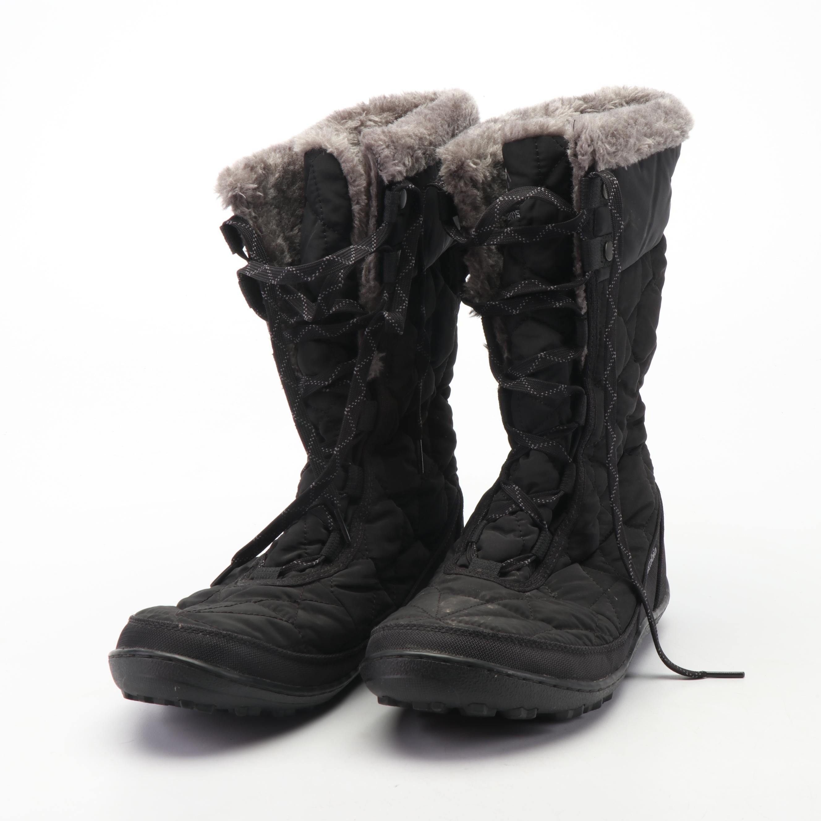 Women's Columbia Omni-Grip Quilted Black Winter Boots with Faux Fur