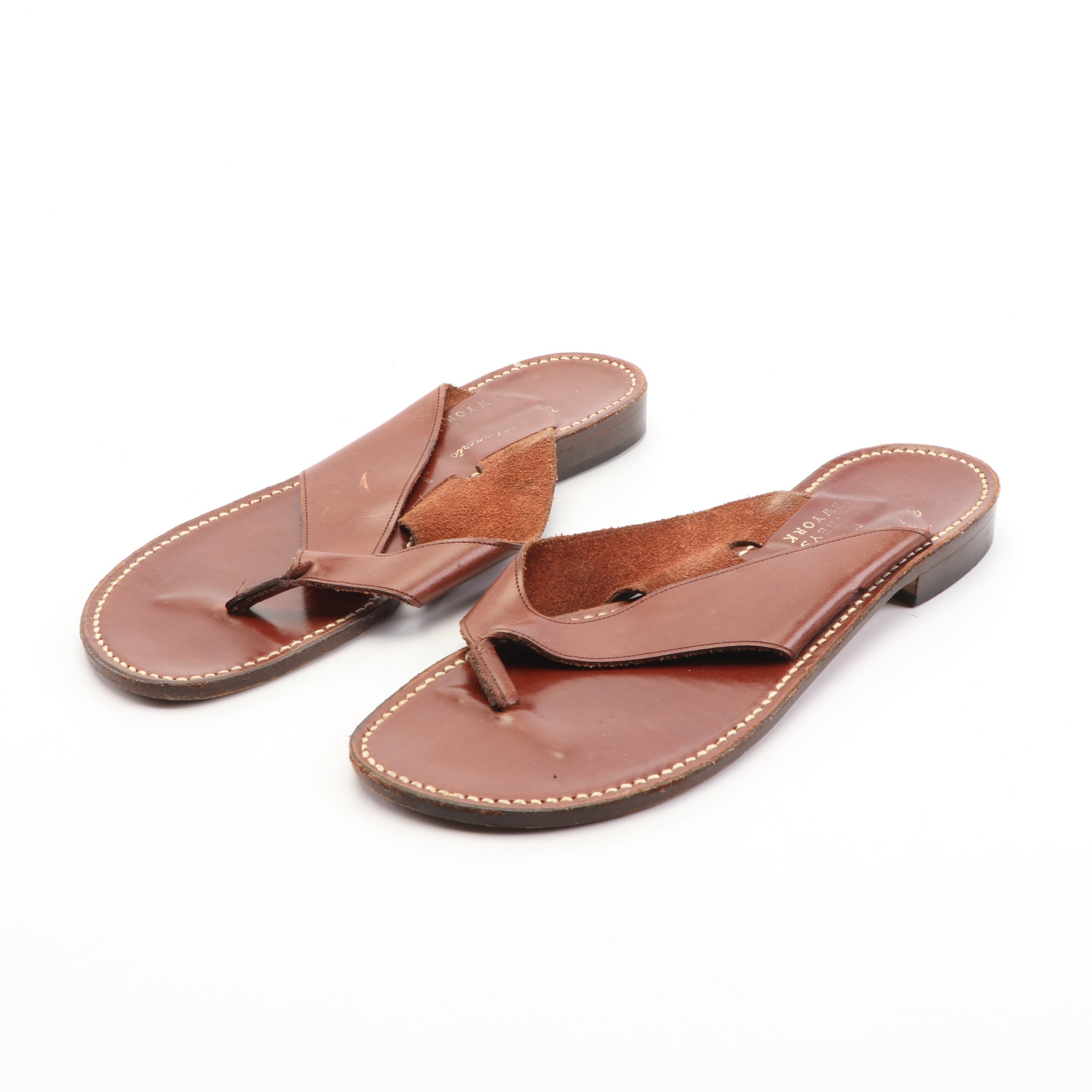 Robert Clergerie for Barneys New York Brown Leather Sandals