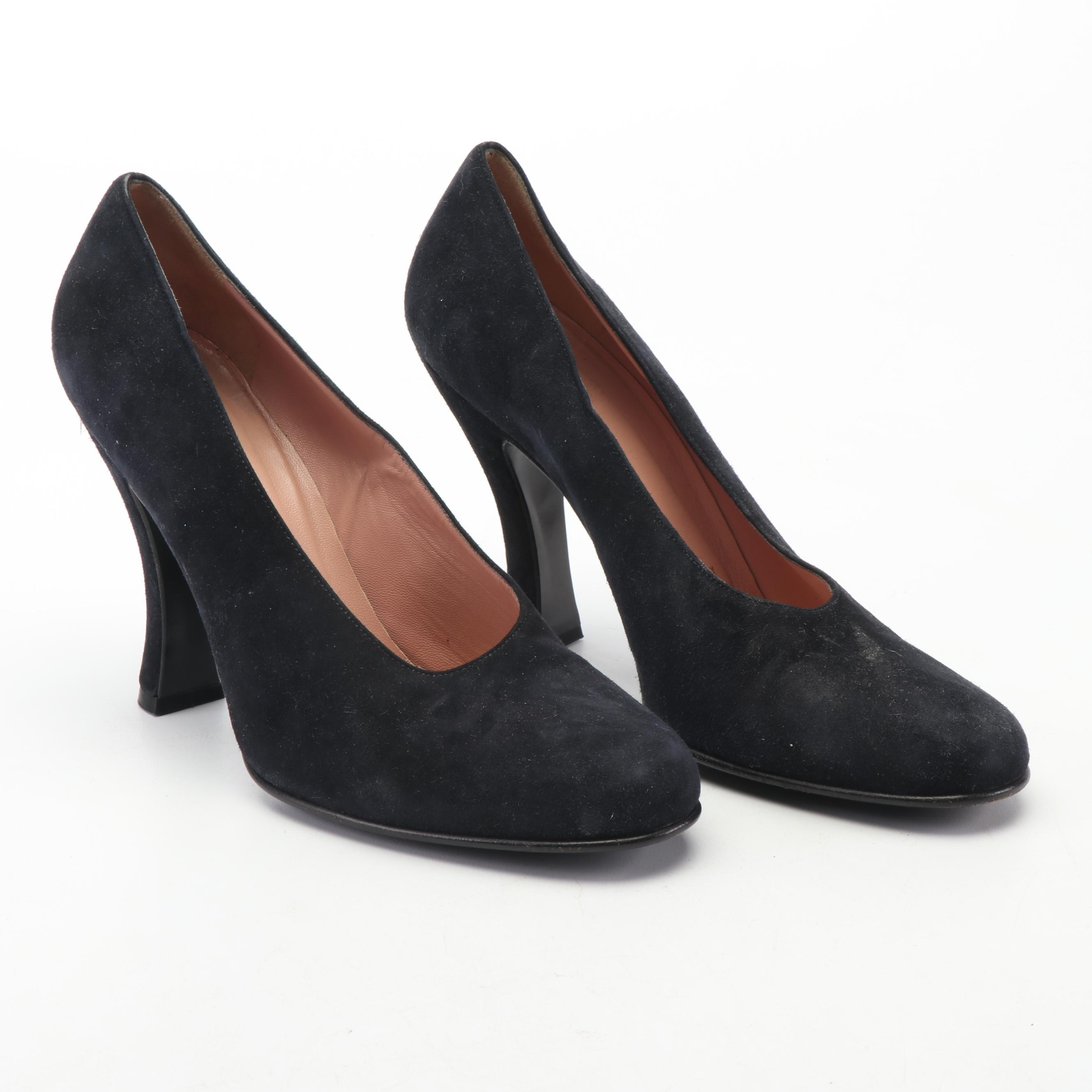 Prada Black Suede Pumps, Made in Italy