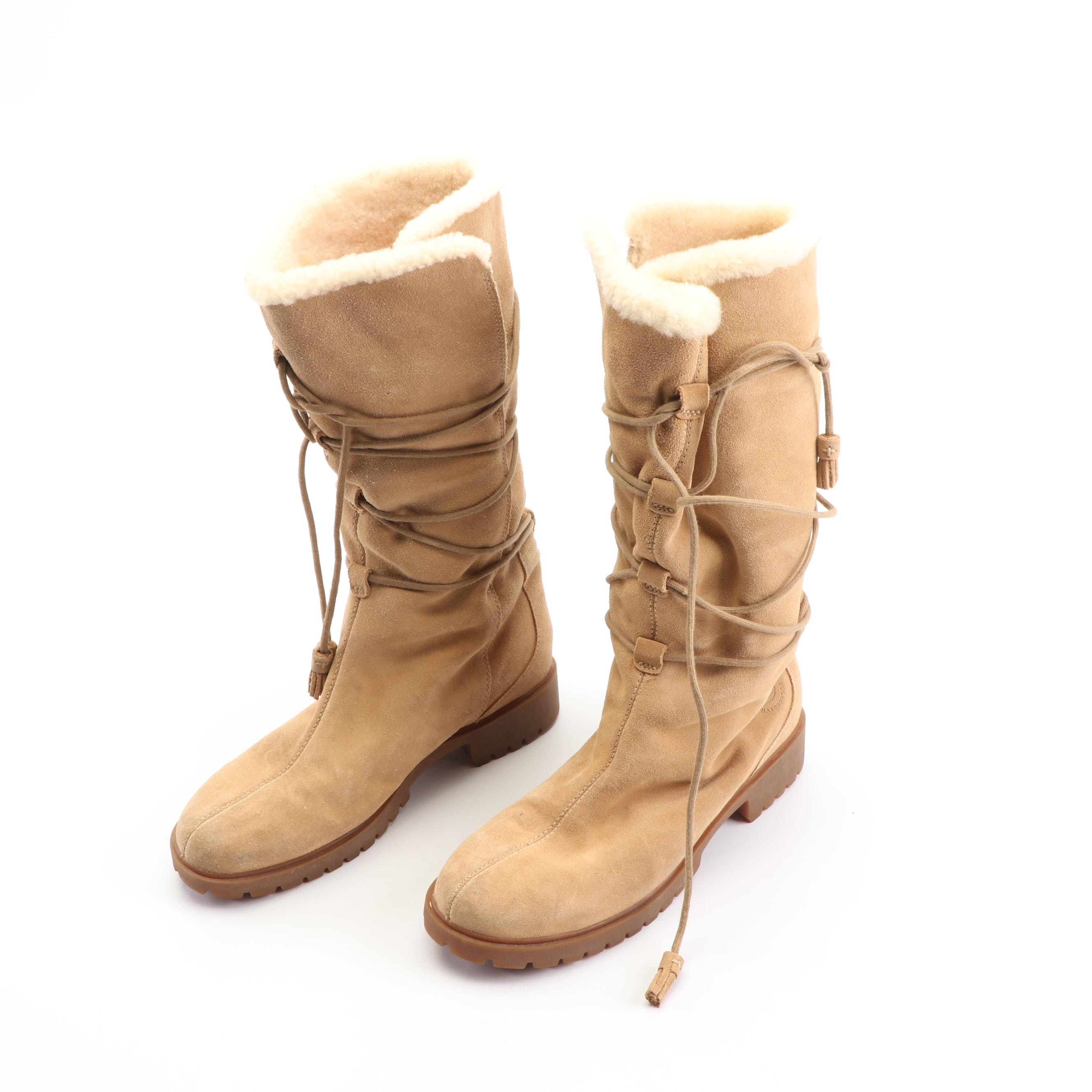 Women's Timberland Tan Suede Tall Lace-Up Winter Boots