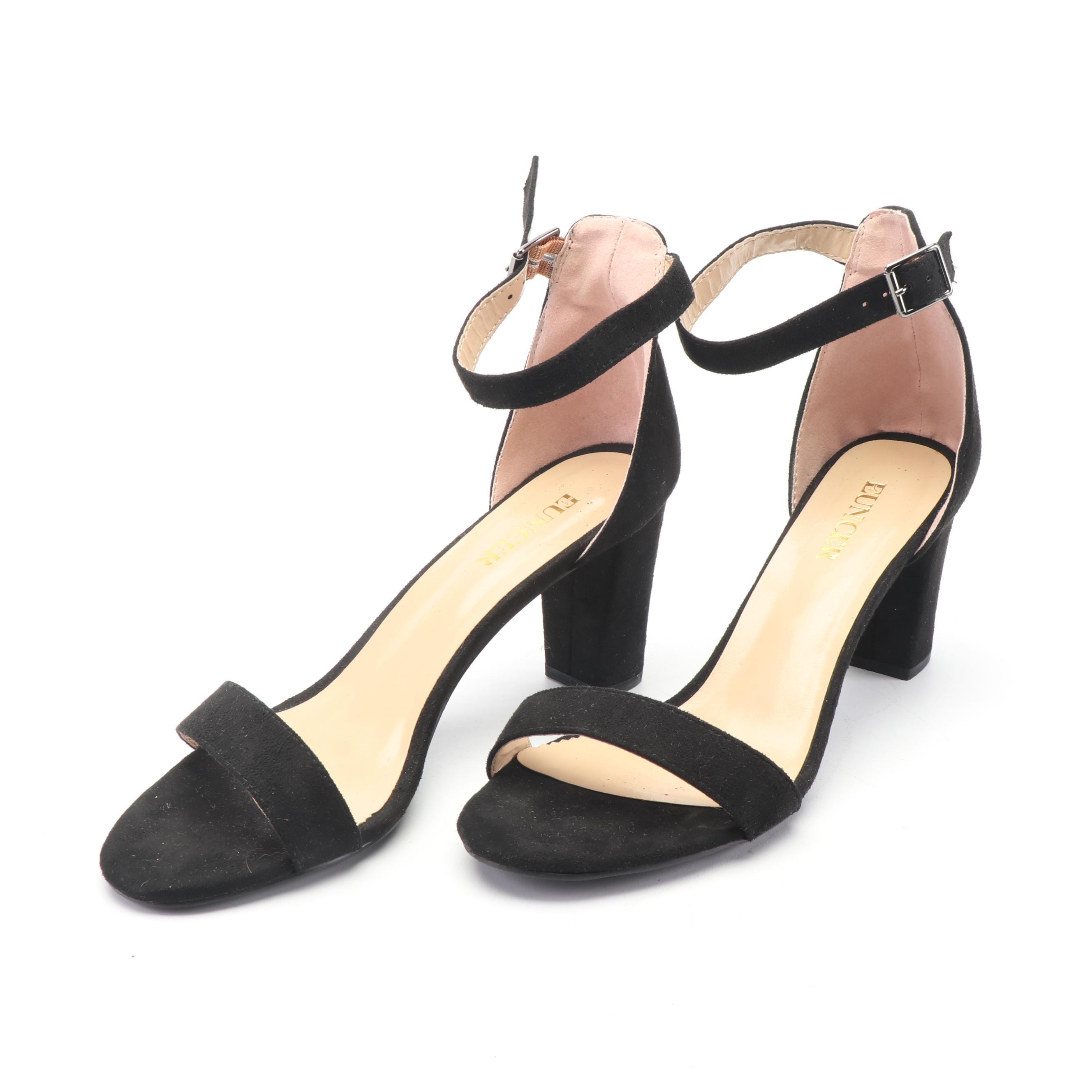 Eunicer Black Suede Ankle Strap Heels