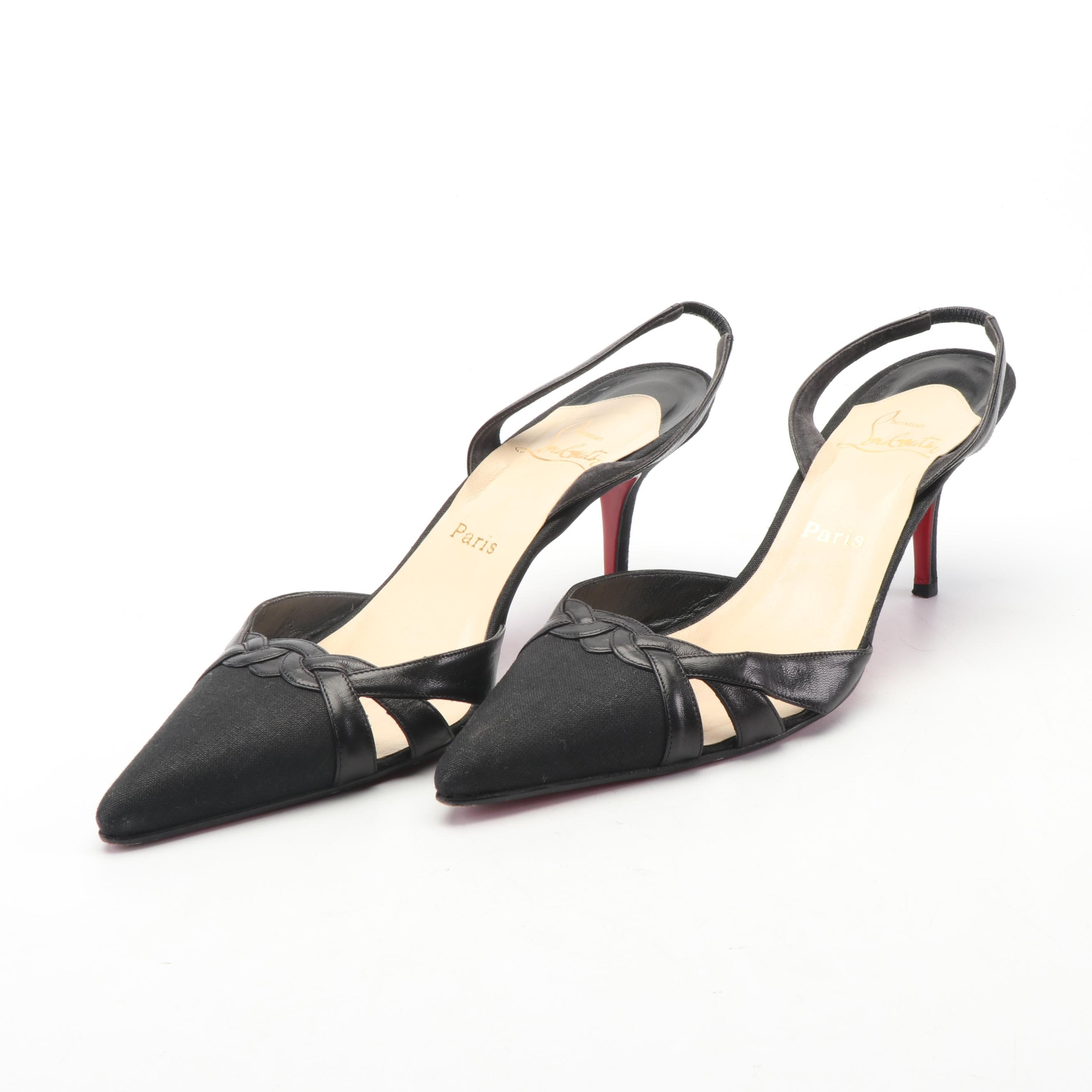 Christian Louboutin Paris Black Canvas and Leather Slingback Pumps