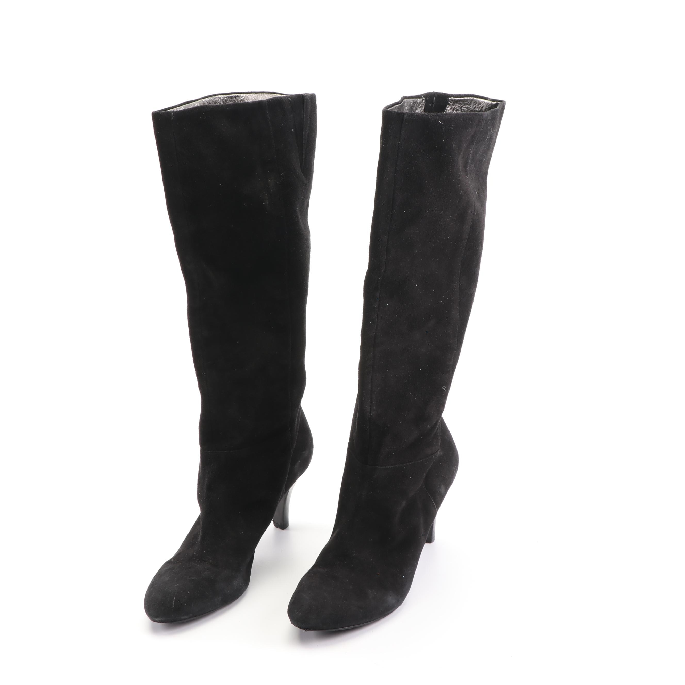 Women's Banana Republic Black Suede High-Heeled Tall Boots