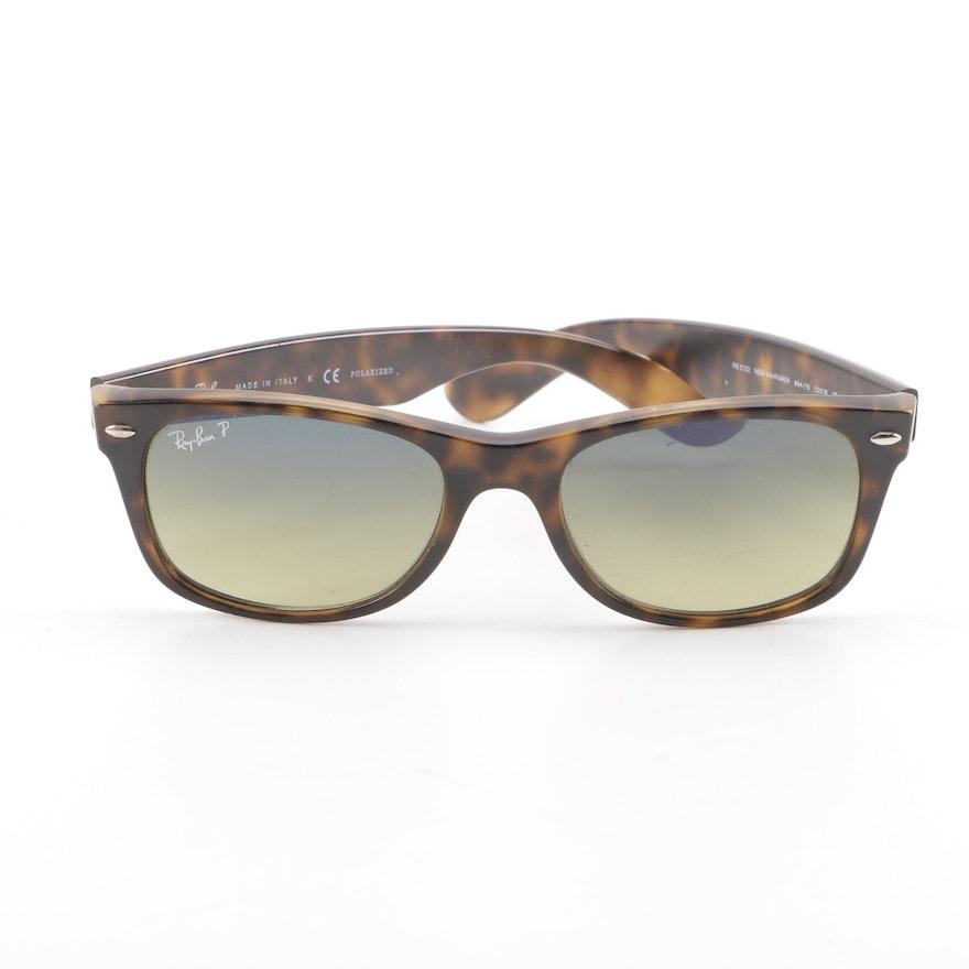 cf8c79e392 Ray-Ban RB 2132 New Wayfarer Tortoiseshell Style Polarized Sunglasses with  Case   EBTH