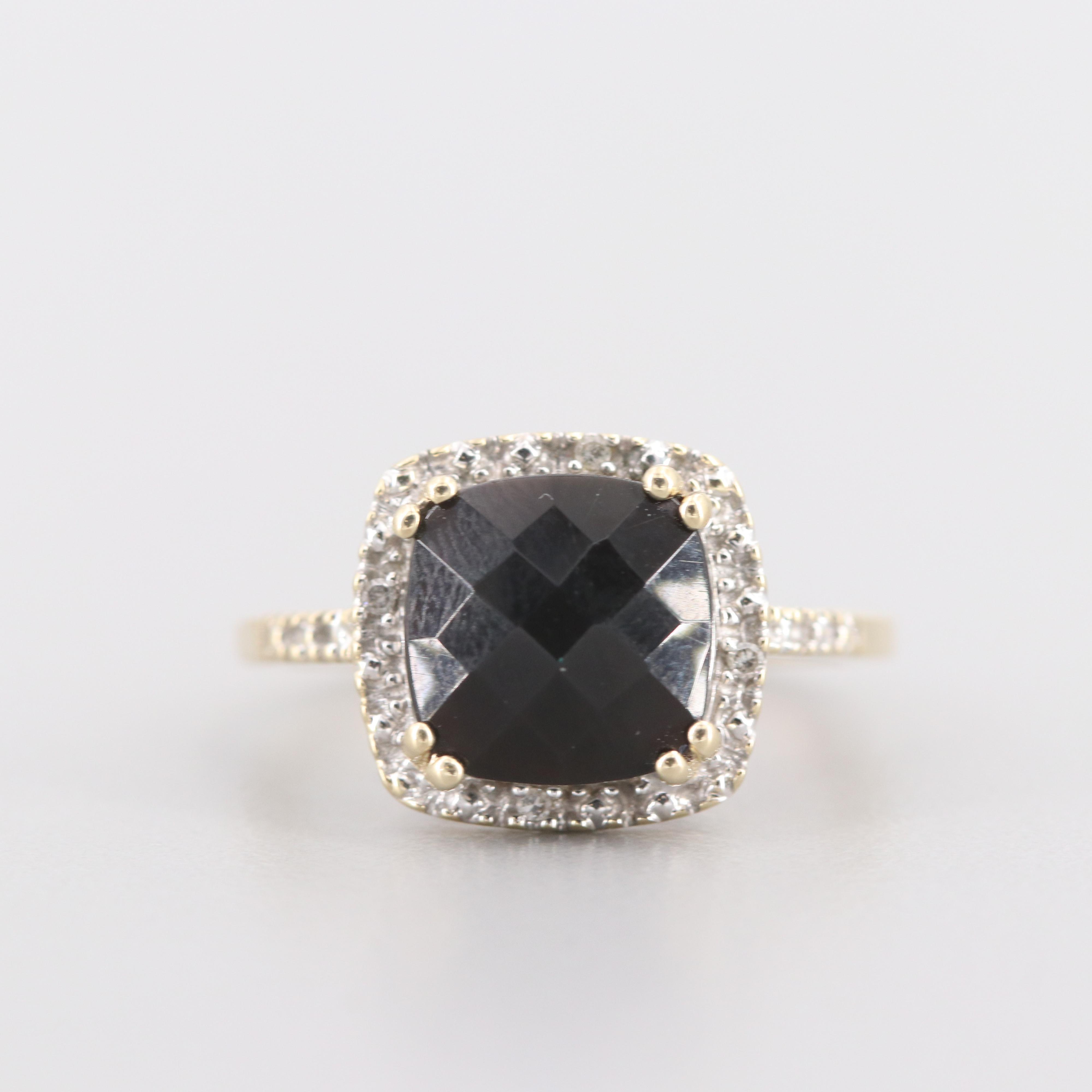 14K Yellow Gold Black Onyx and Diamond Ring
