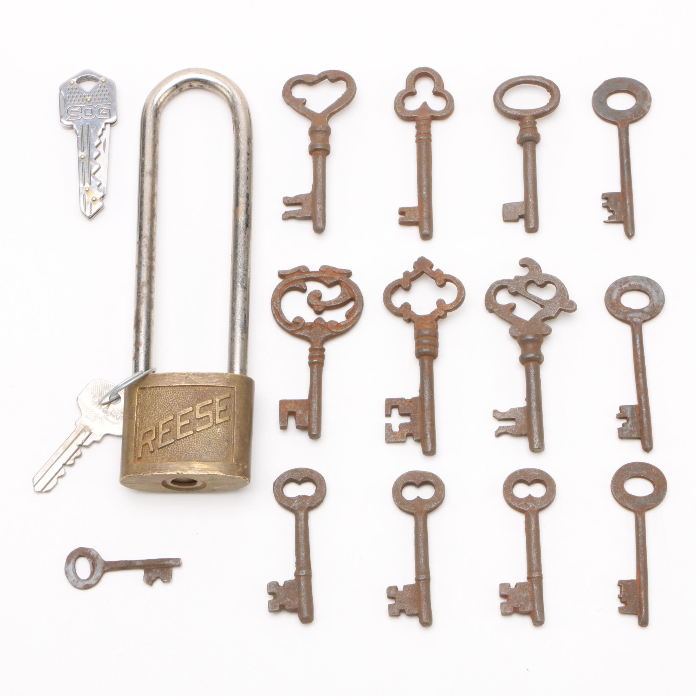 Skeleton Key Assortment with Reese Padlock Including Voltas, Early 20th Century