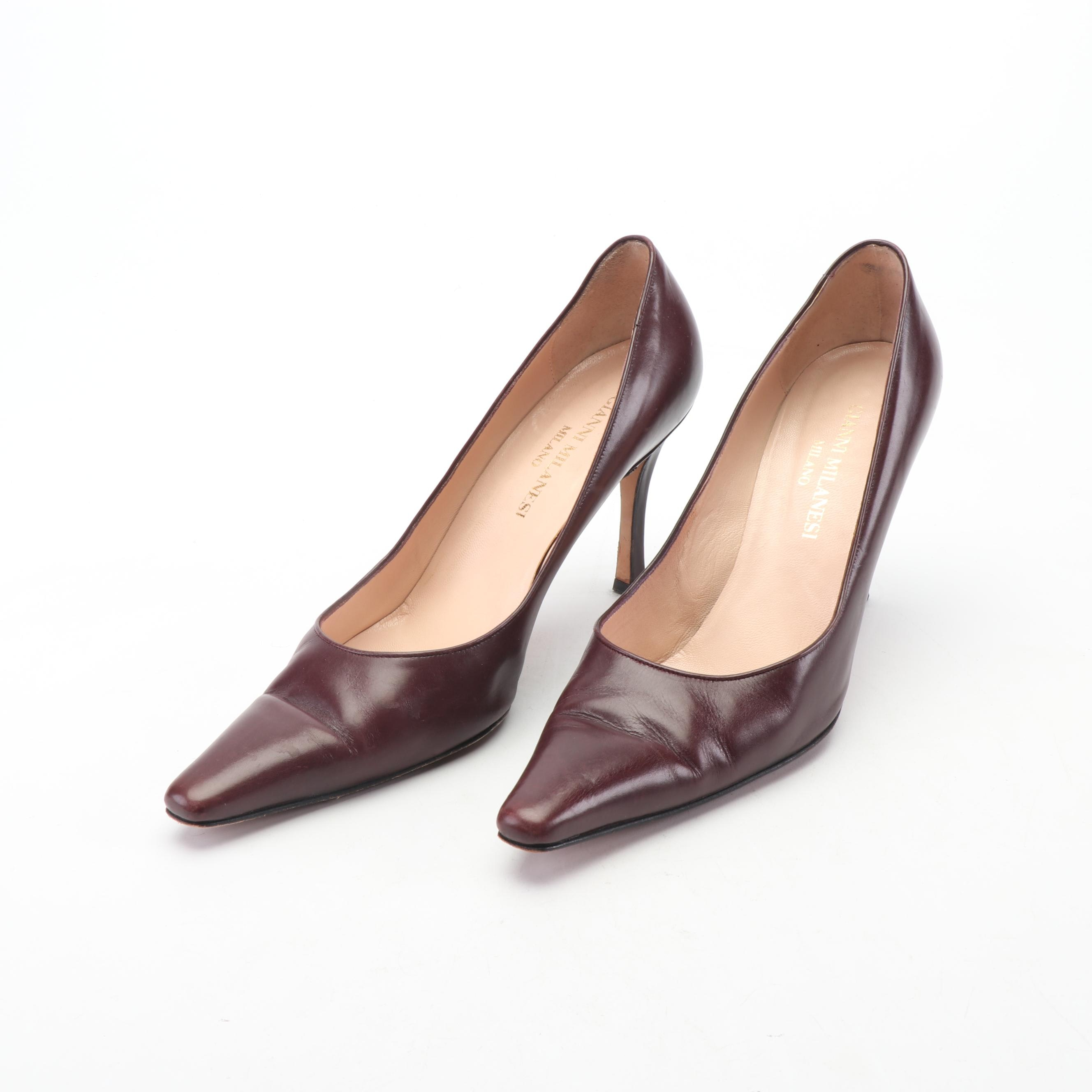 Gianni Milanesi Burgundy Leather Pumps, Made in Italy