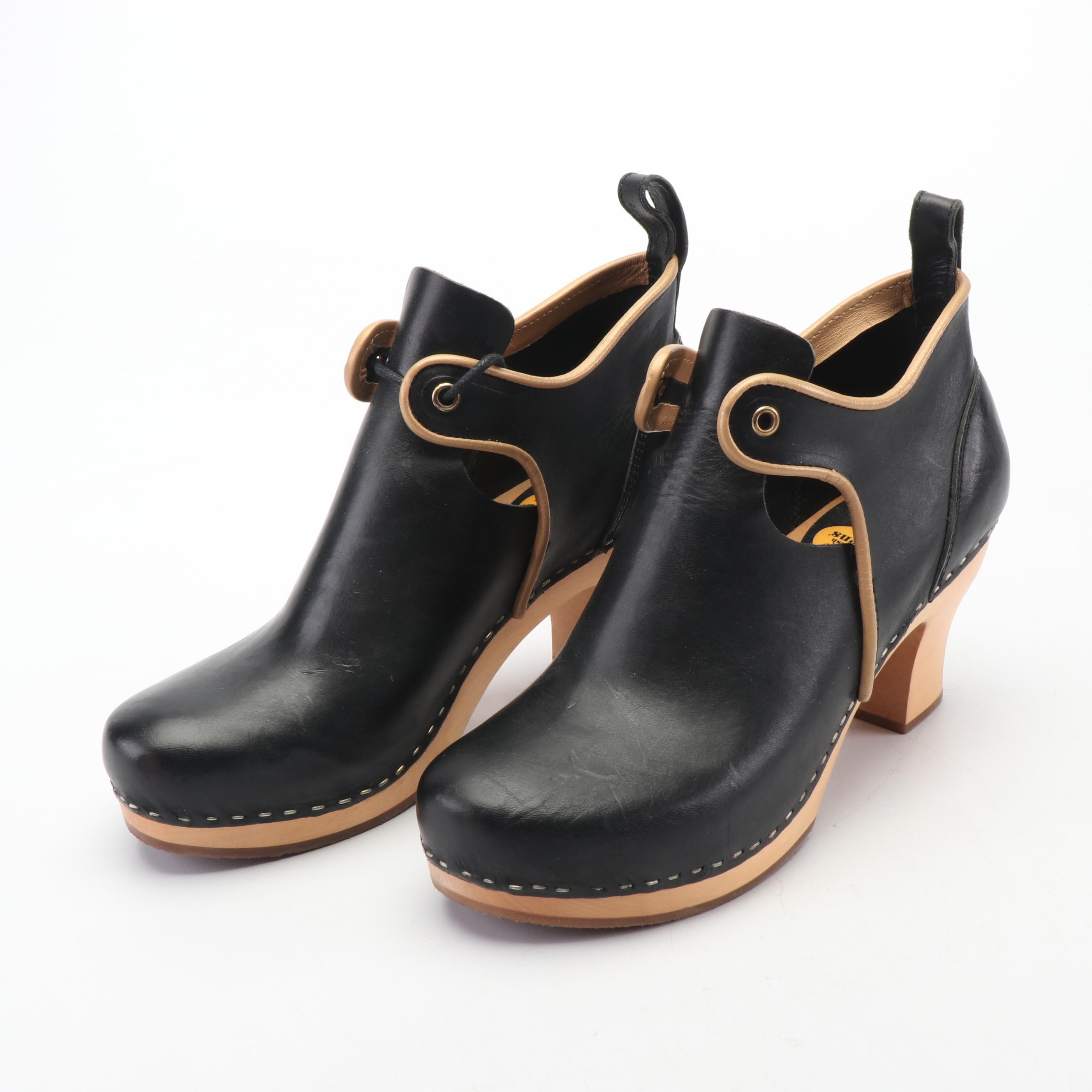 Swedish Hasbeens Black with Tan Leather Wooden Heeled Clogs