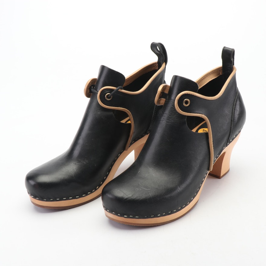 5945c4b3311bf Swedish Hasbeens Black with Tan Leather Wooden Heeled Clogs   EBTH