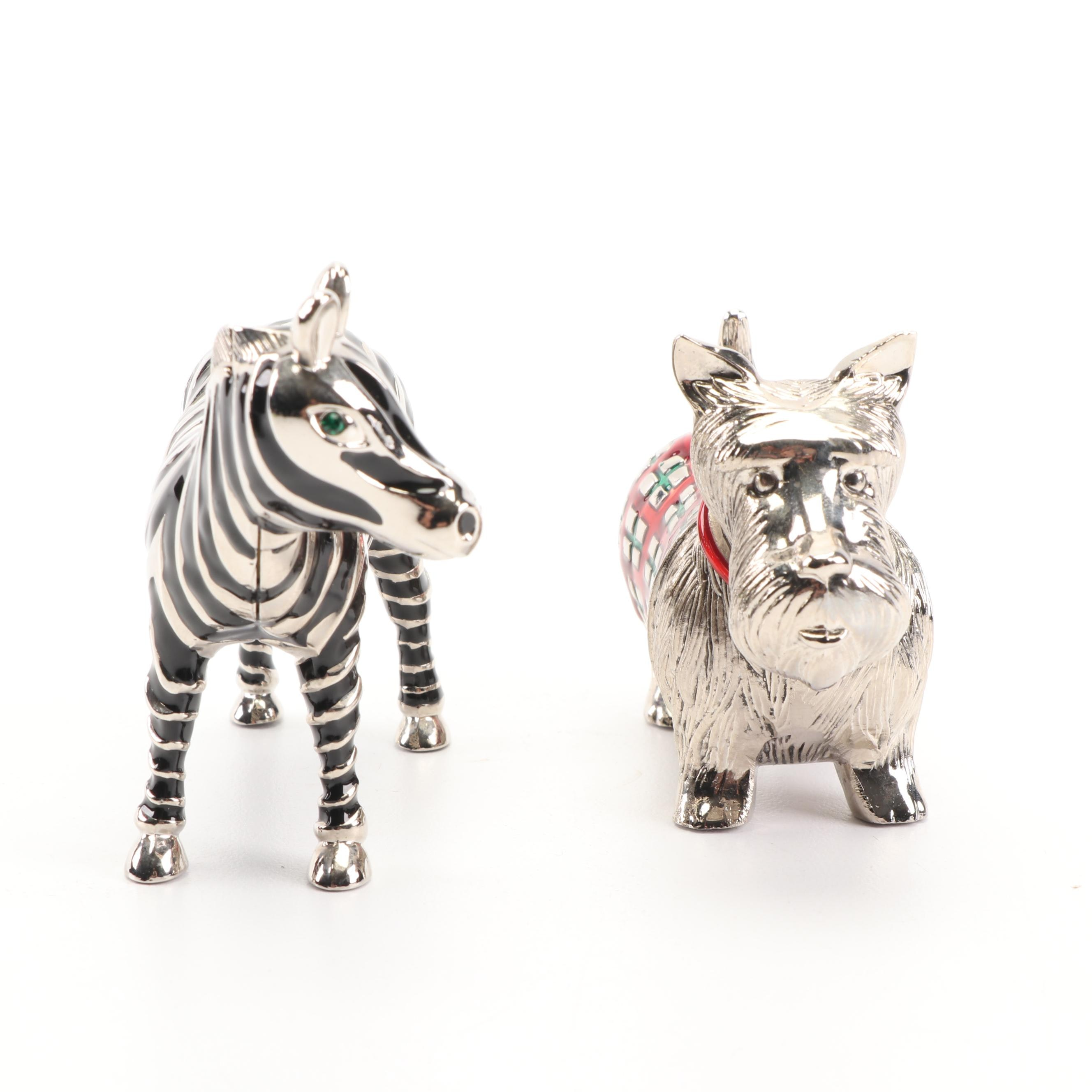 Metal Scotty Dog and Zebra Themed Shakers