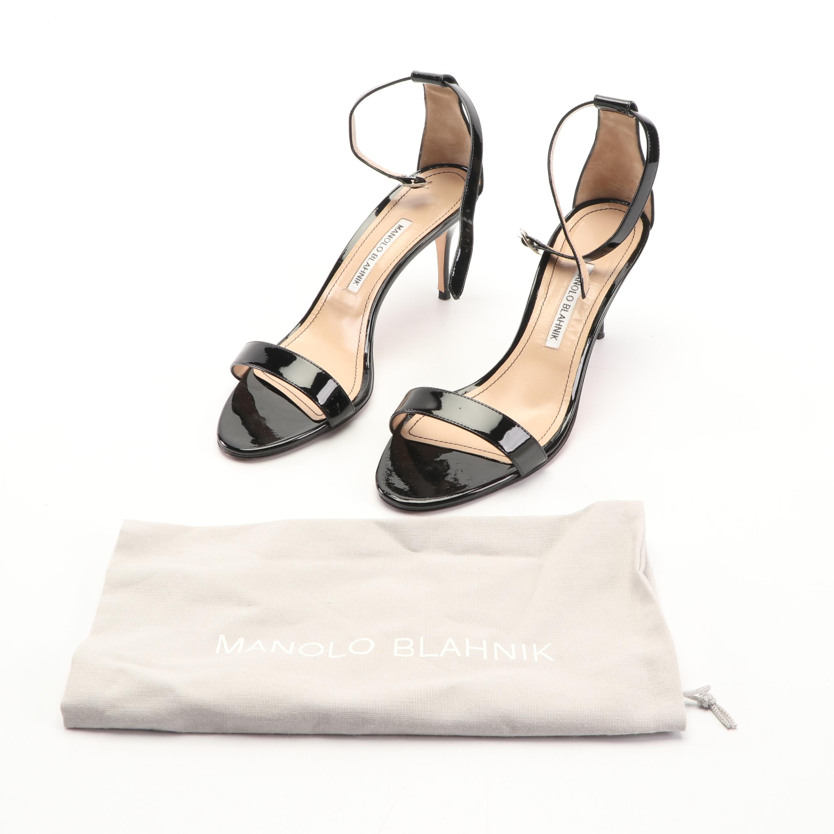 Manolo Blahnik Black Patent Leather Ankle Strap Heels