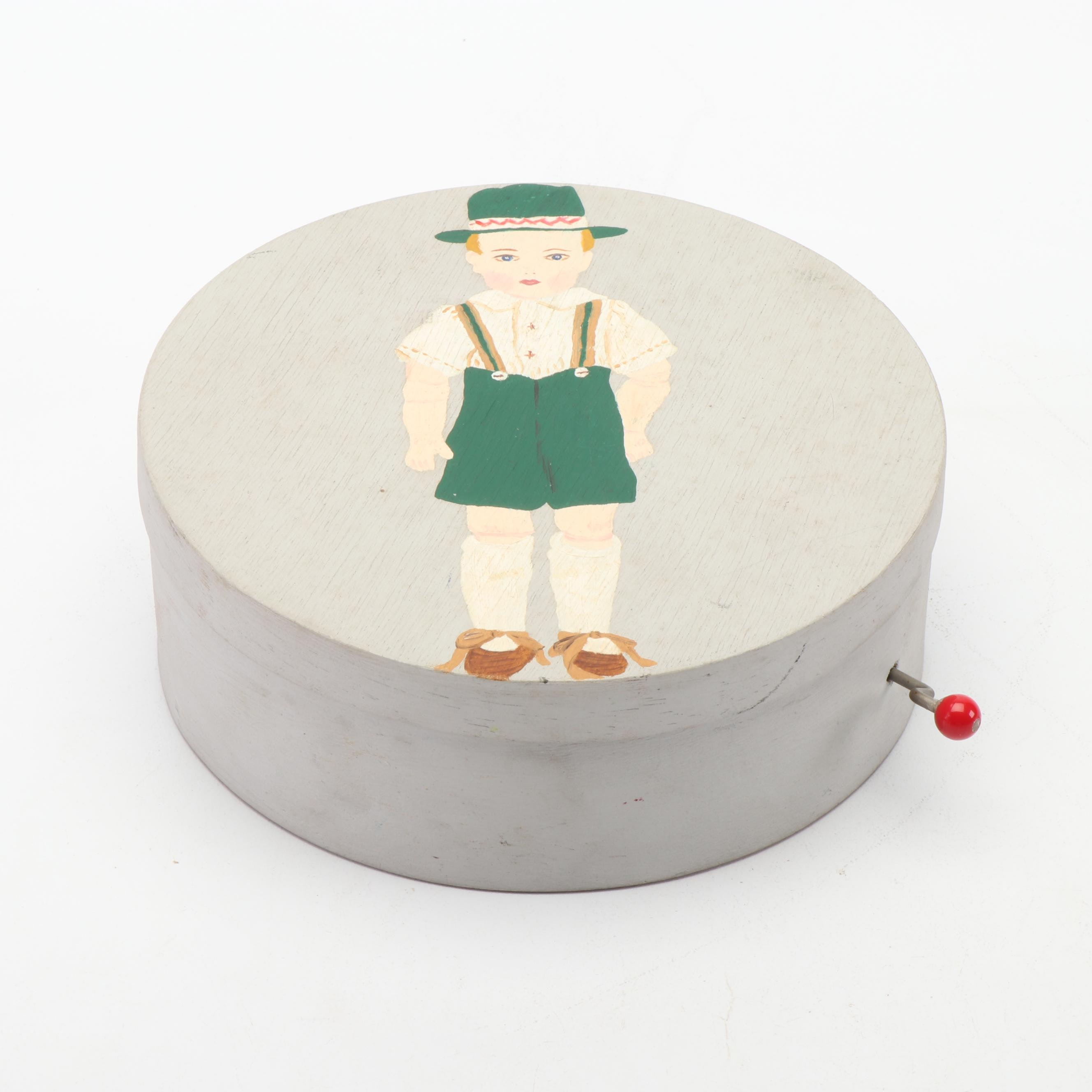 Hand Painted Music Box Depicting Boy in Lederhosen
