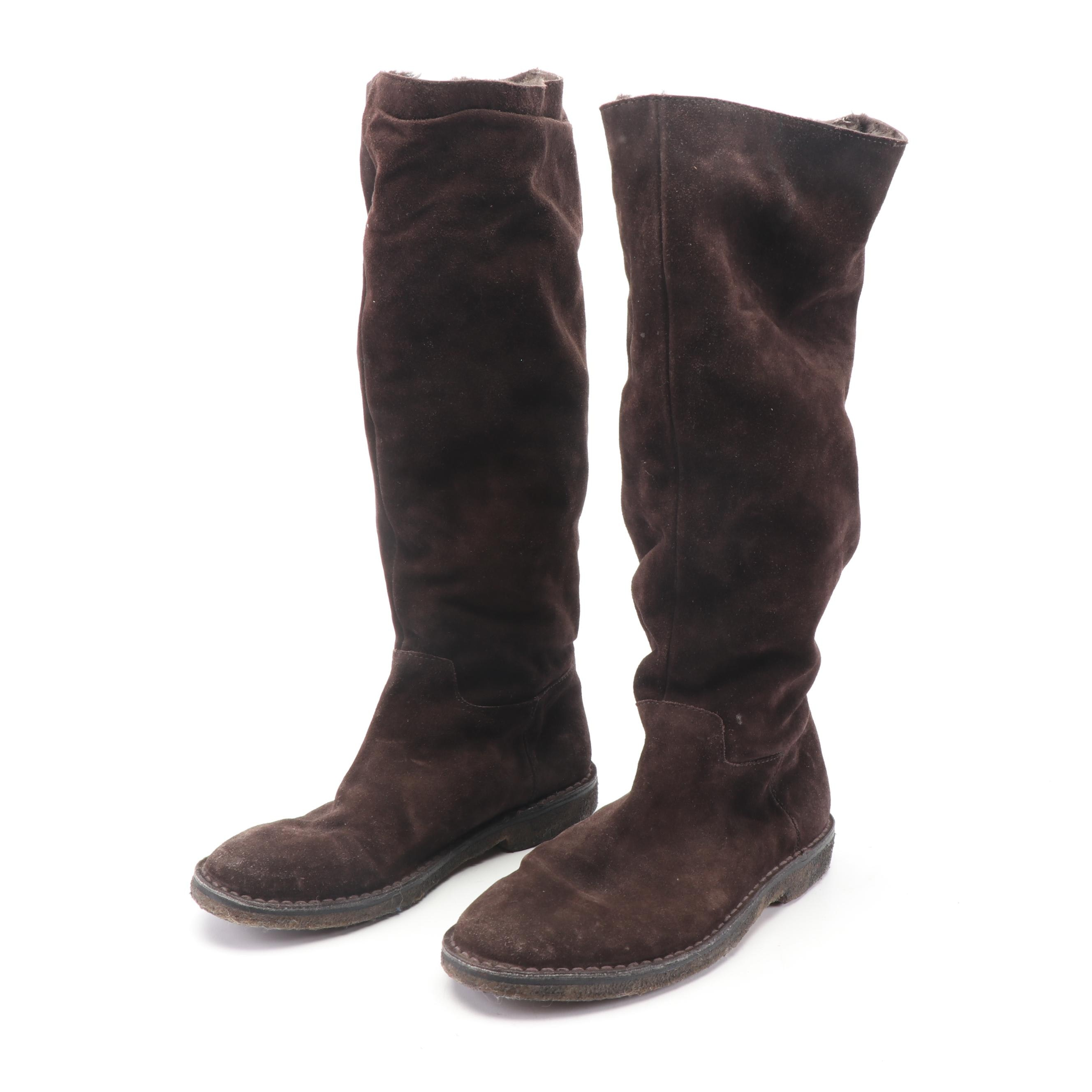 Vince Dark Brown Suede Knee-High Boots with Faux Fur Linings, Made in Italy