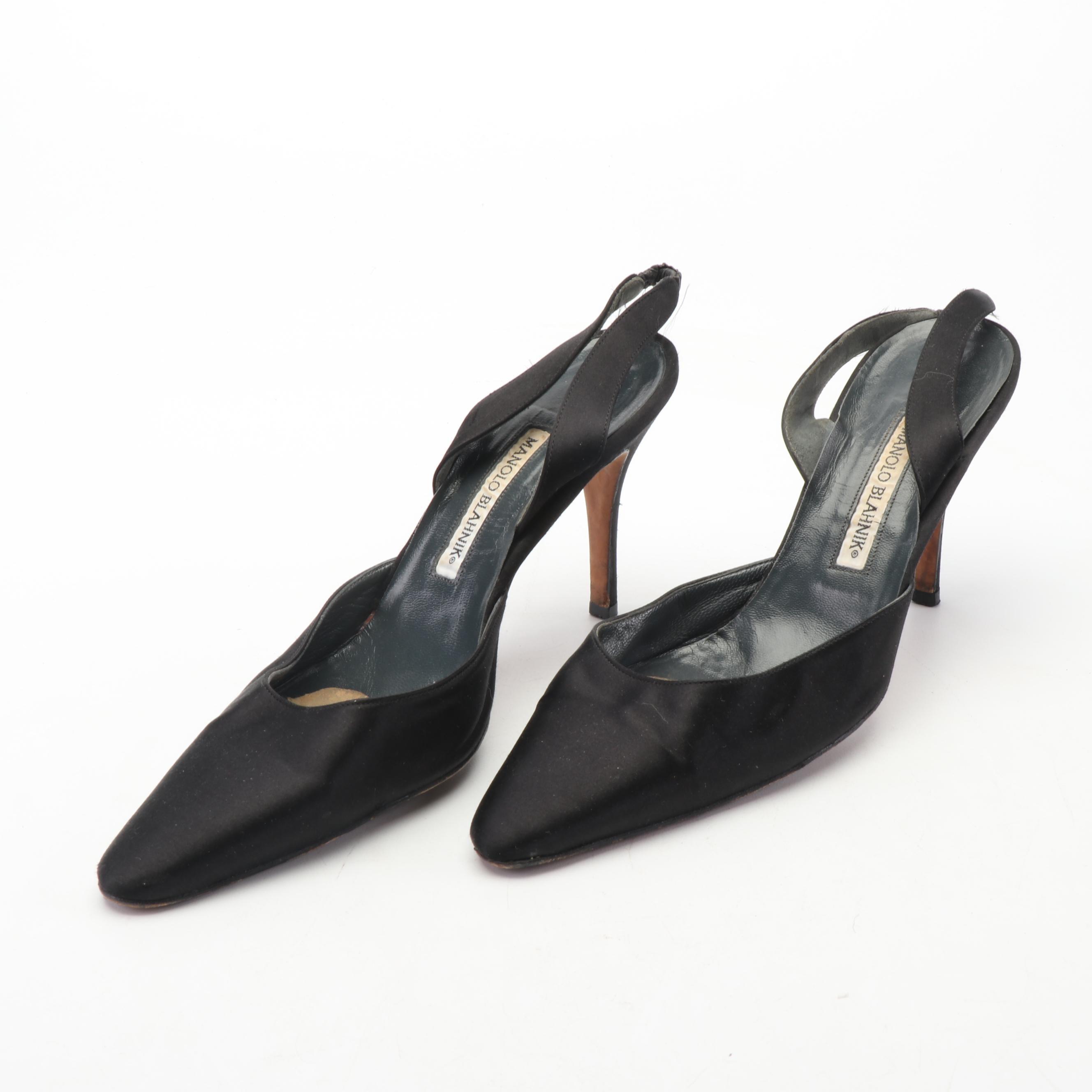 Manolo Blahnik Black Satin Slingback Heels