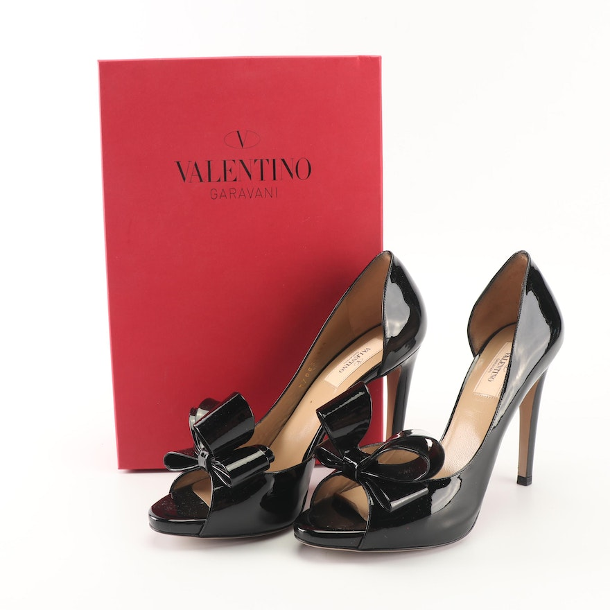 87a4d0fbc40b Valentino Black Patent Leather Bow d Orsay Peep-Toe Pumps   EBTH