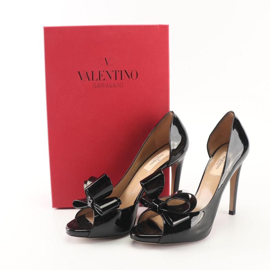 c267ad3da79 Valentino Black Patent Leather Bow d Orsay Peep-Toe Pumps   EBTH