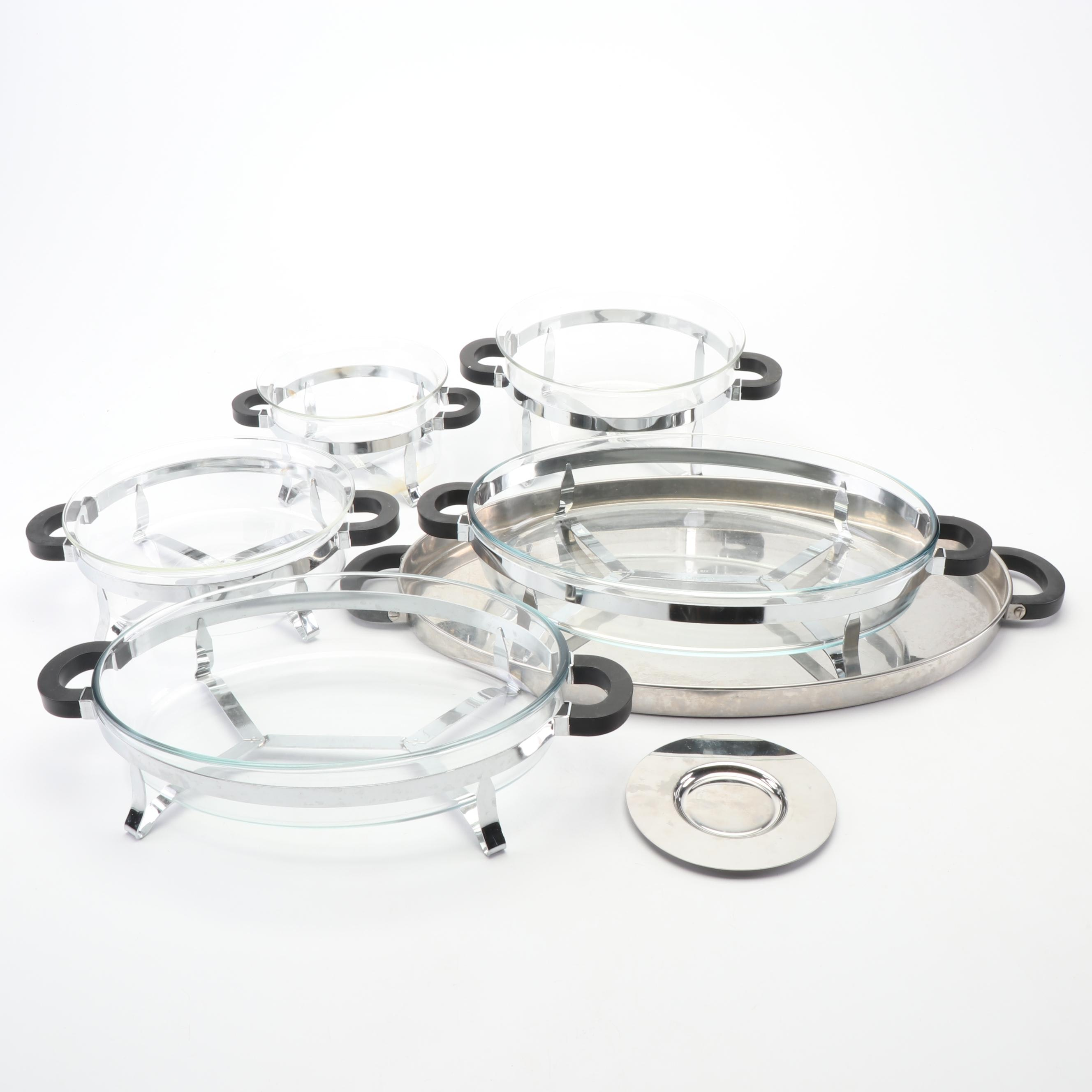 Bodum and Pyrex Stainless Steel and Glass Serveware