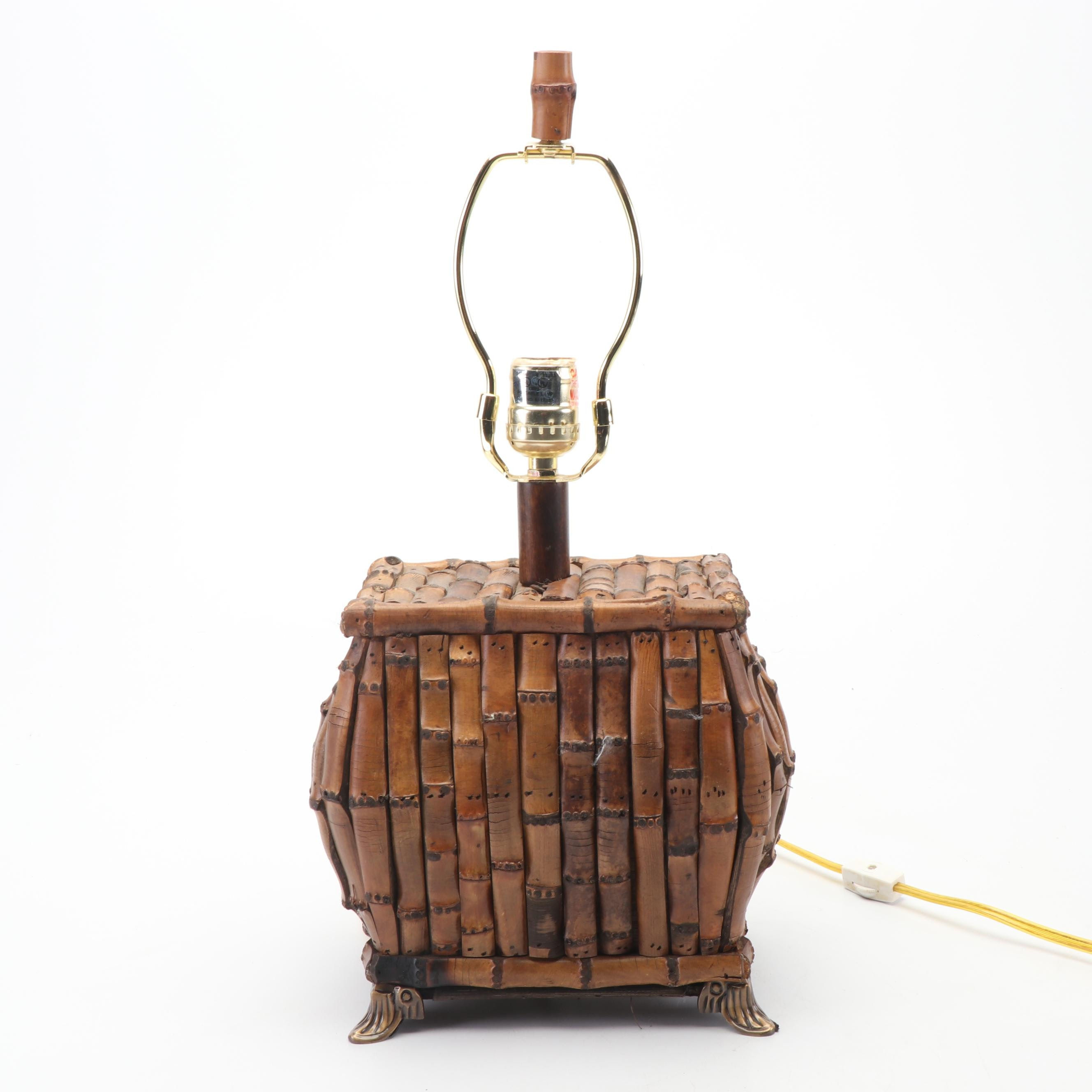 Structural Bamboo Table Lamp with Brass Tone Metal Feet
