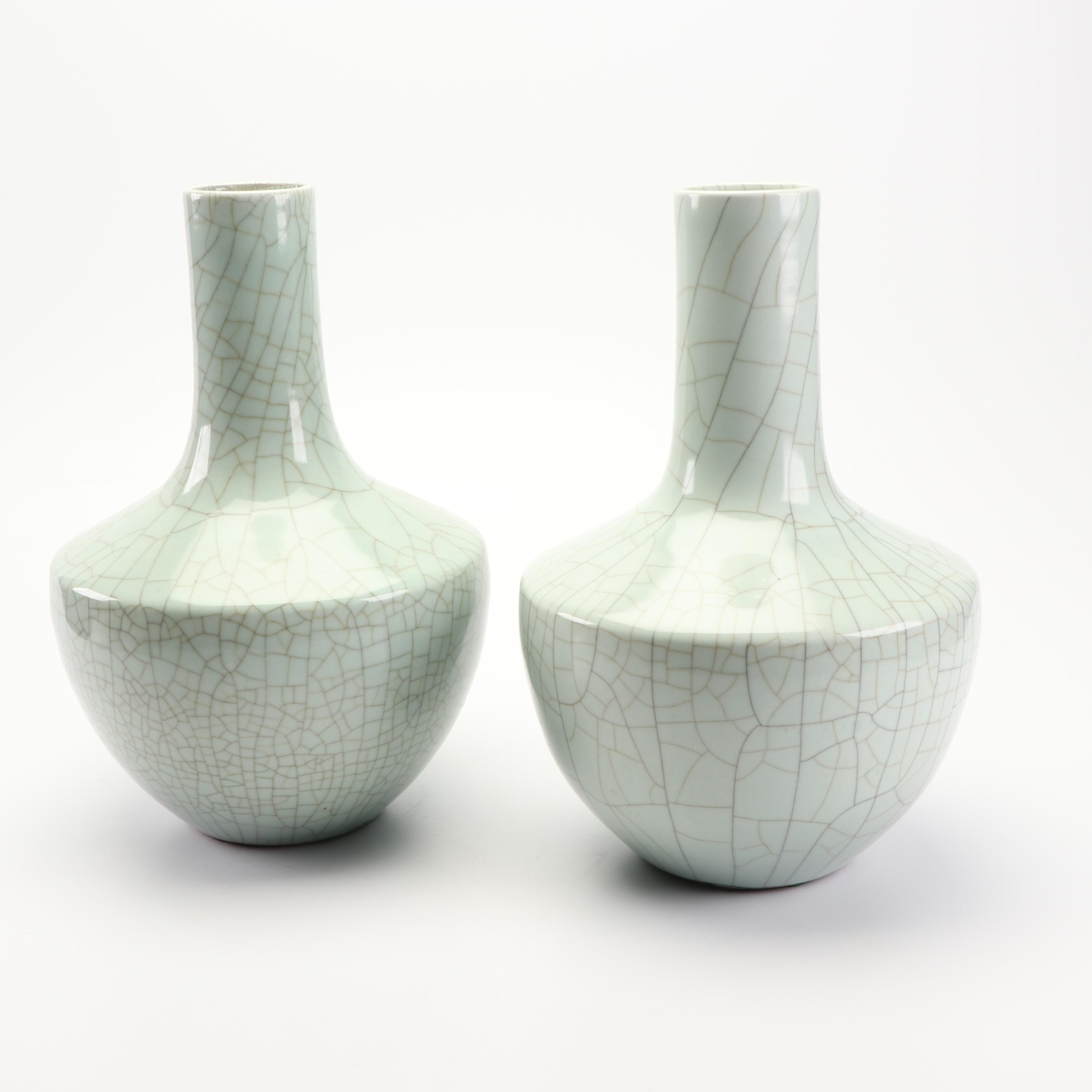 Chinese Celadon Ge Ware Style Ceramic Vases