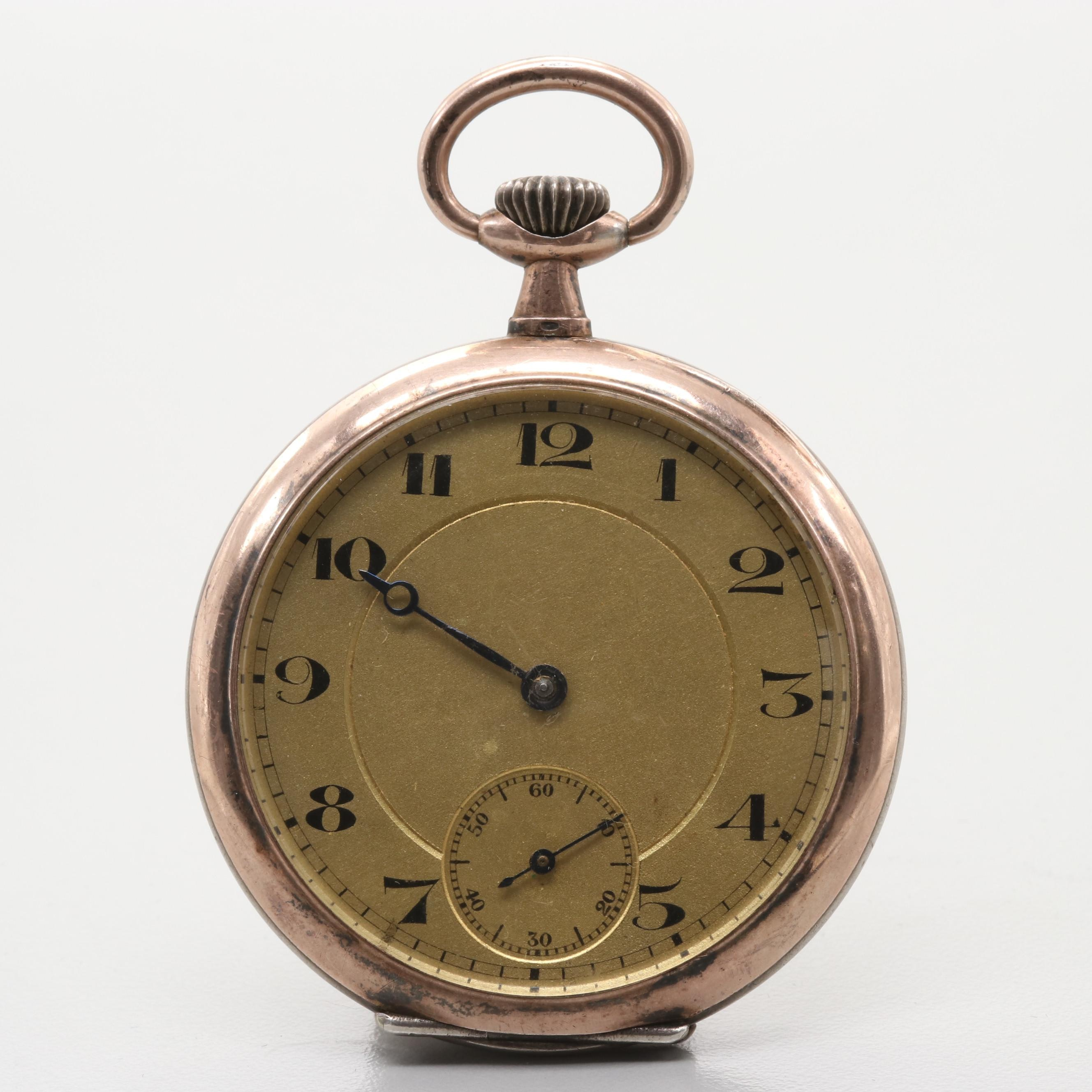 800 Silver and Copper Swiss Pocket Watch
