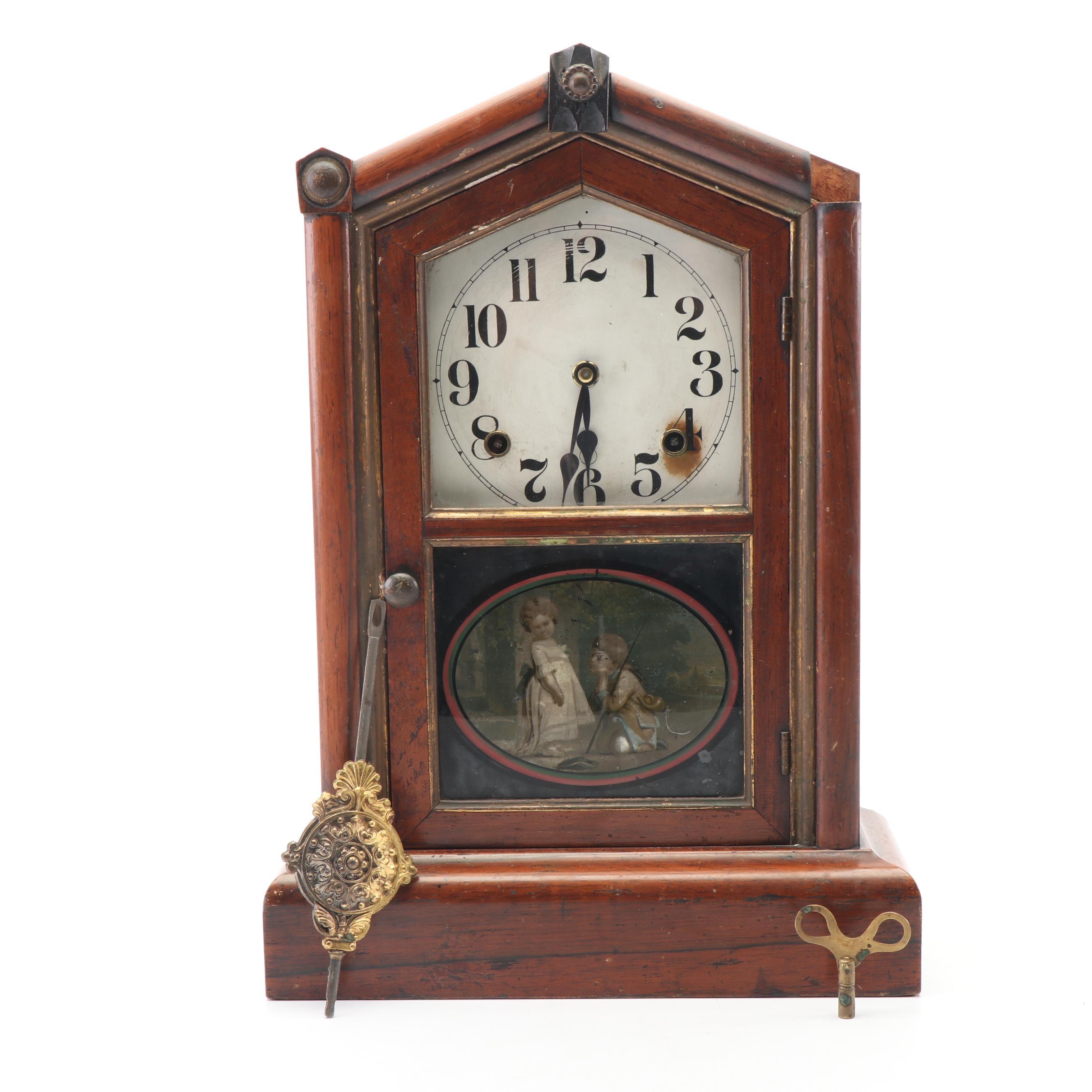 Seth Thomas Mahogany Case Spring Driven Mantel Clock, Late 19th Century