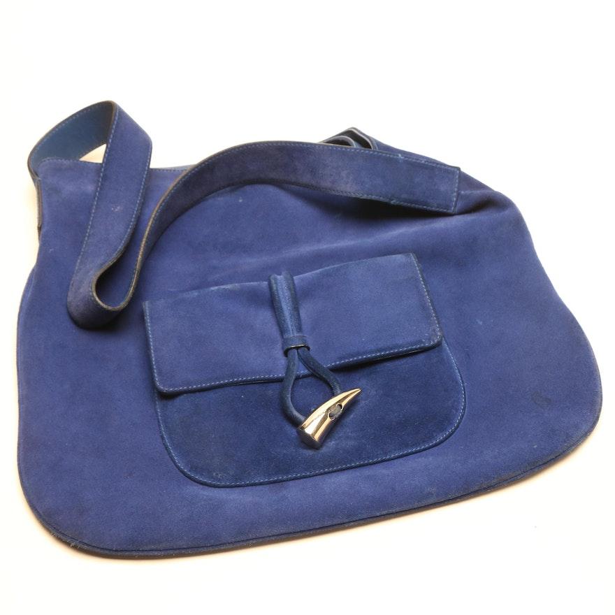 174af65a1a92 Burberry Blue Suede Shoulder Bag   EBTH