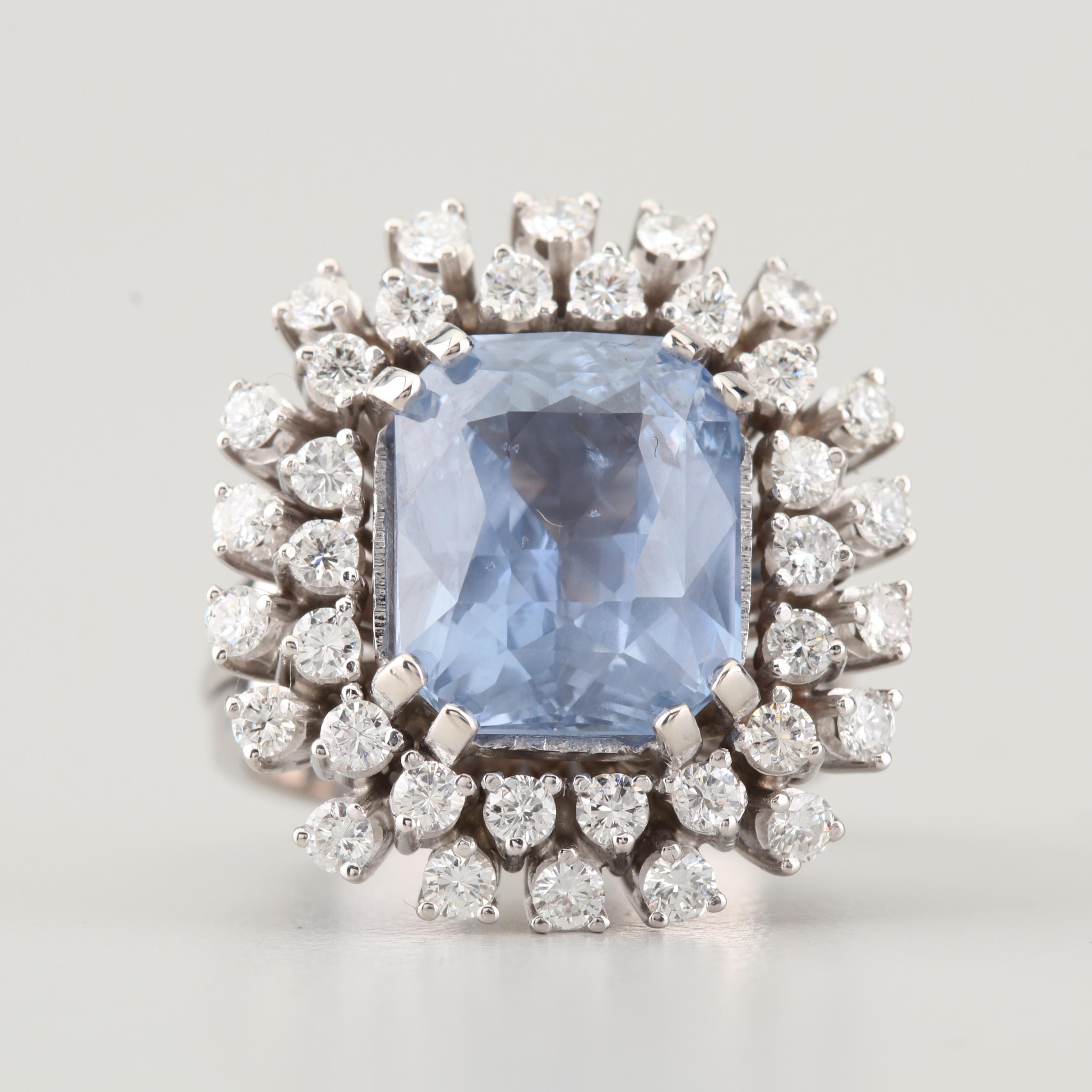 18k White Gold 9 32 Ct Sri Lanka Sapphire And 1 50 Ctw Diamond Ring