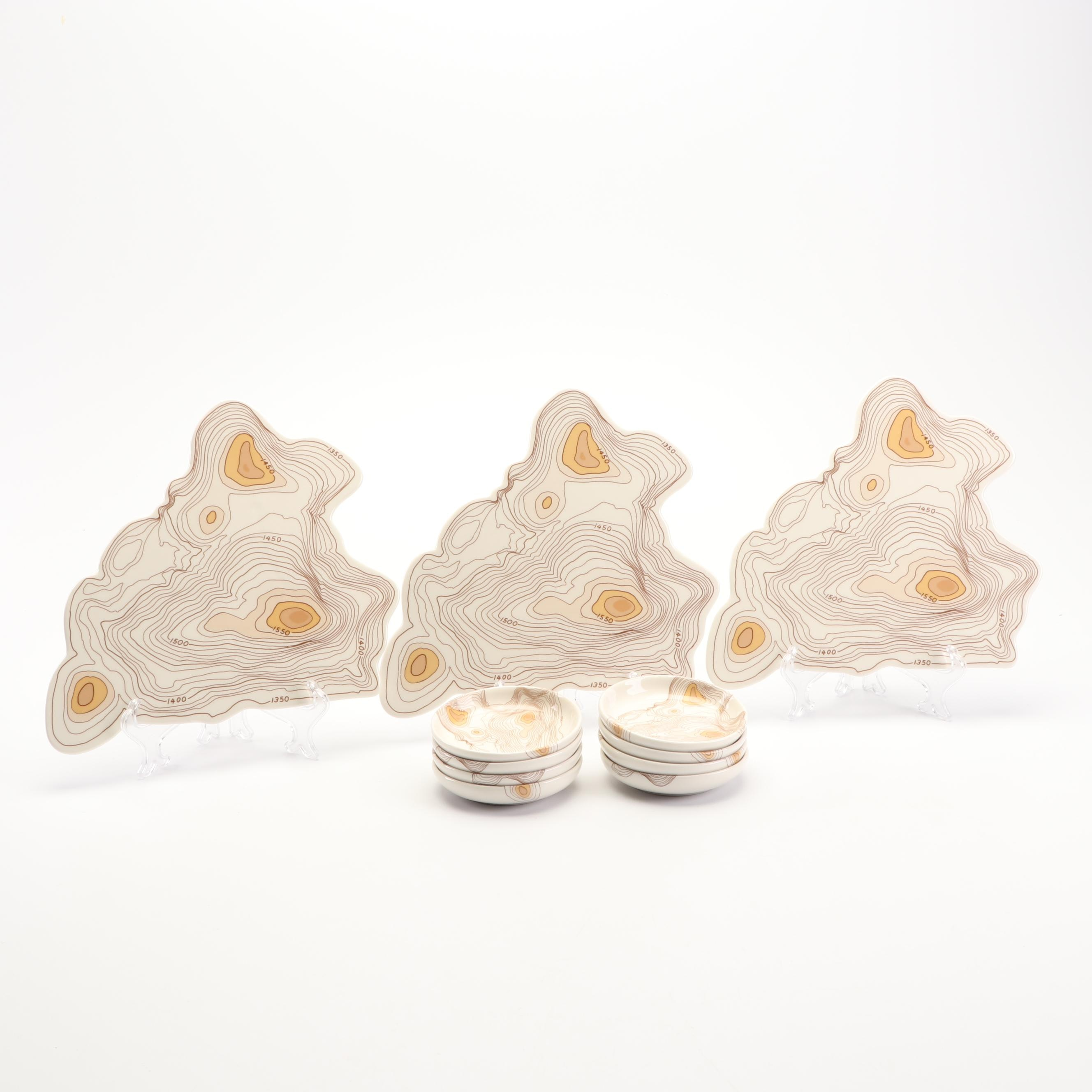 """Fishs Eddy"" Topographical Cheese Trays and Appetizer Dishes by Natalia Janul"