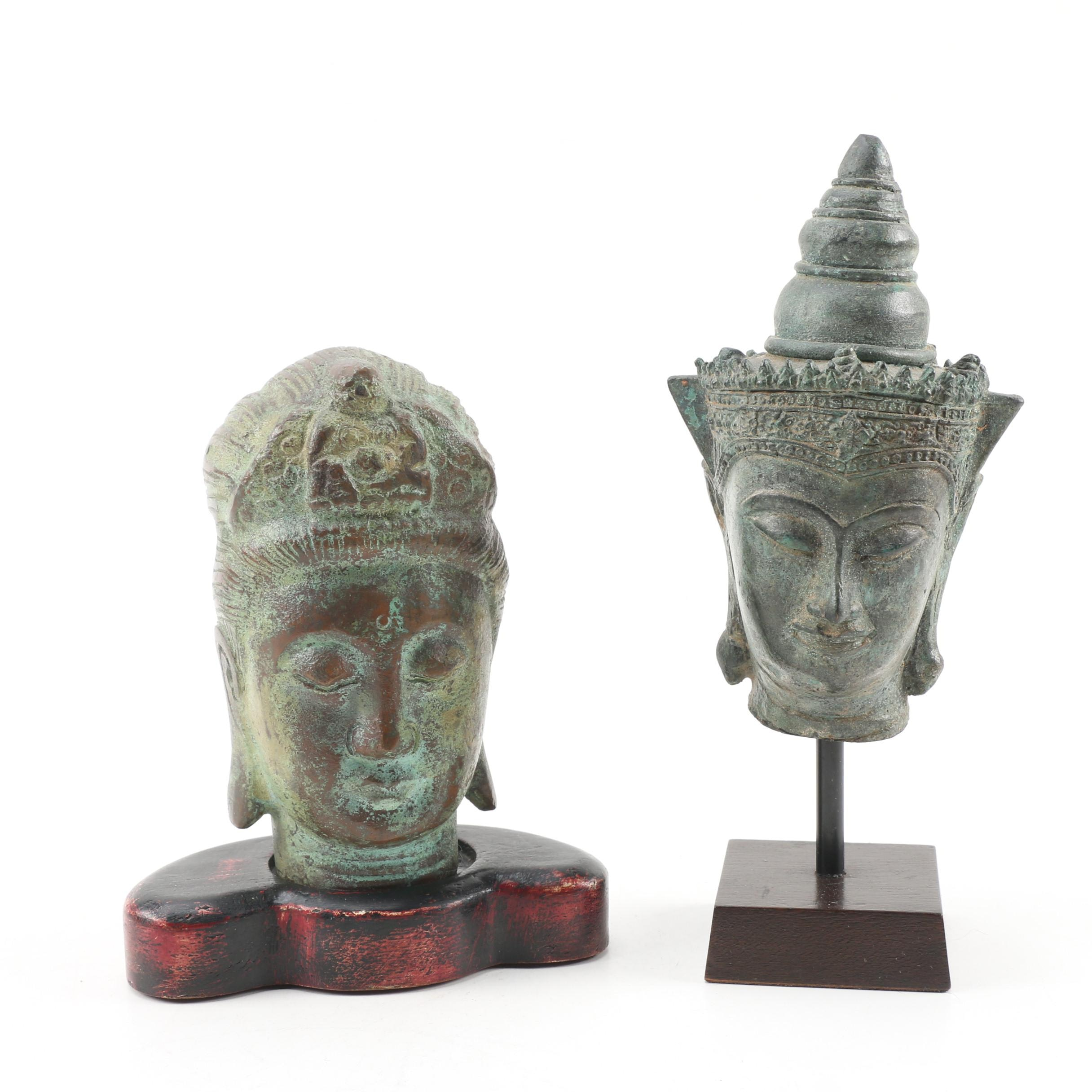 Thai and Chinese Decorative Buddhist Metal Busts