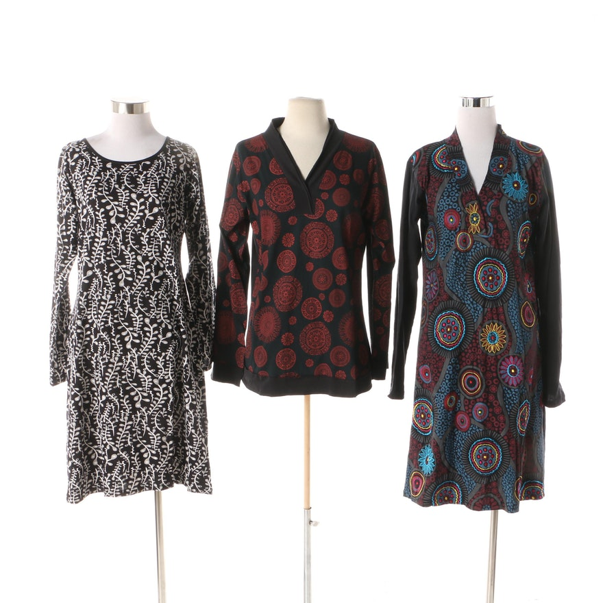 db7539cb3727 Aller Simplement Circle Print and Branch Print Dresses with Mandala Print  Tee ...