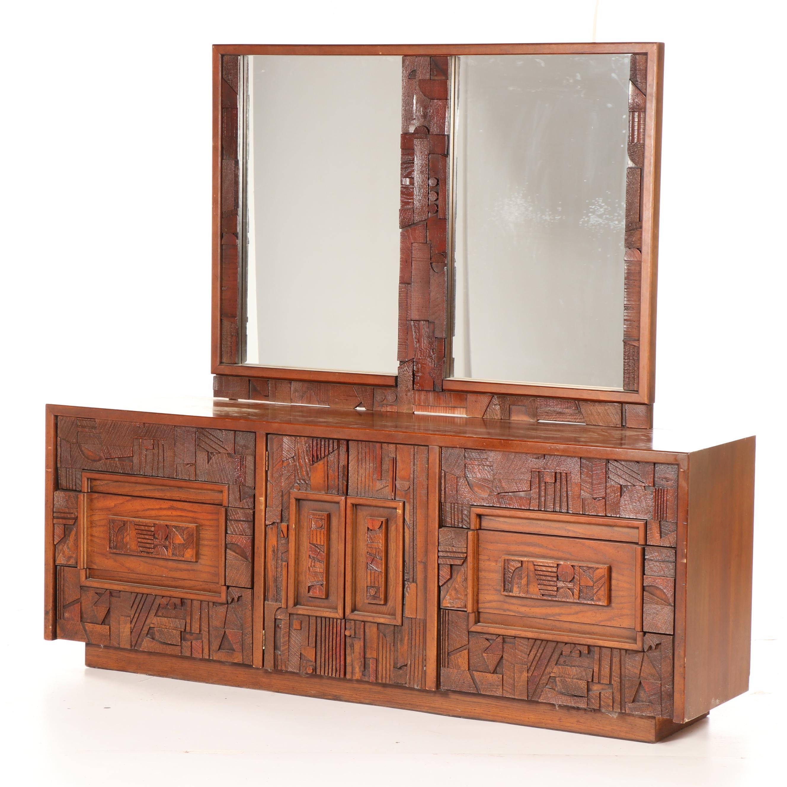 Pueblo Line Walnut Dresser with Mirror by Lane, Mid-20th Century