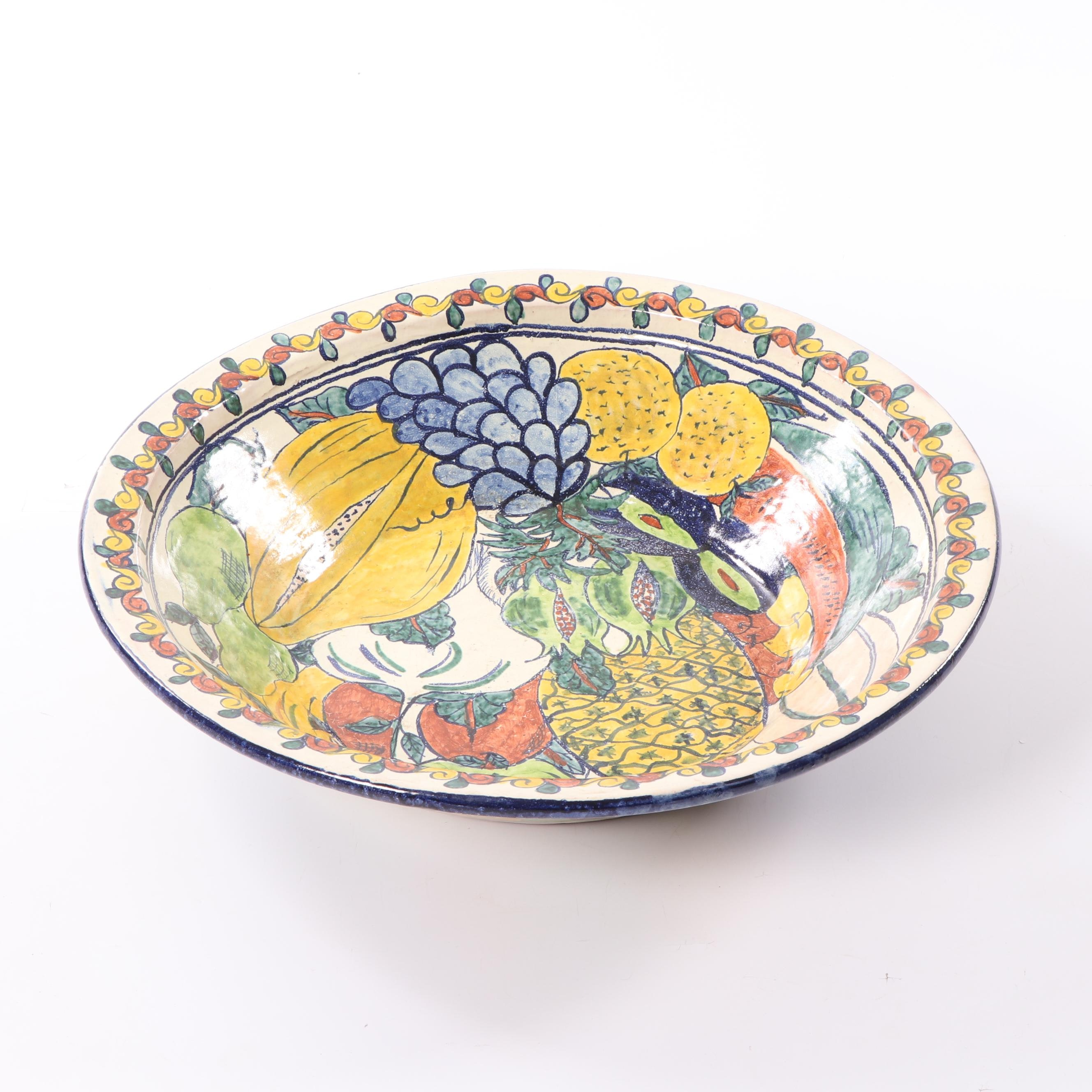 Hand-Painted Mexican Talavera Pottery Decorative Bowl